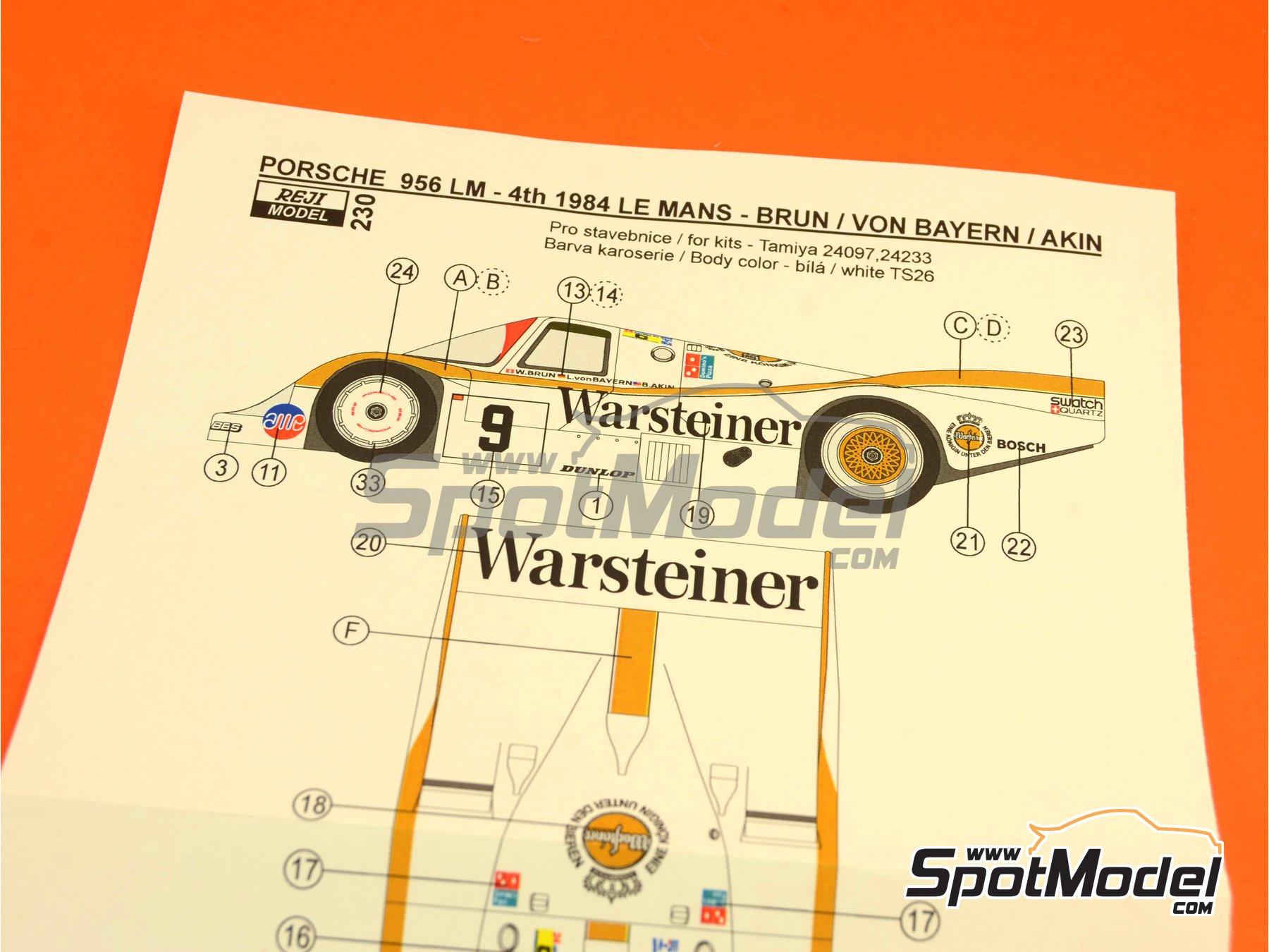 Image 2: Porsche 956 Warsteiner - 24 Horas de Le Mans 1984 | Decoración en escala1/24 fabricado por Reji Model (ref.REJI-230)