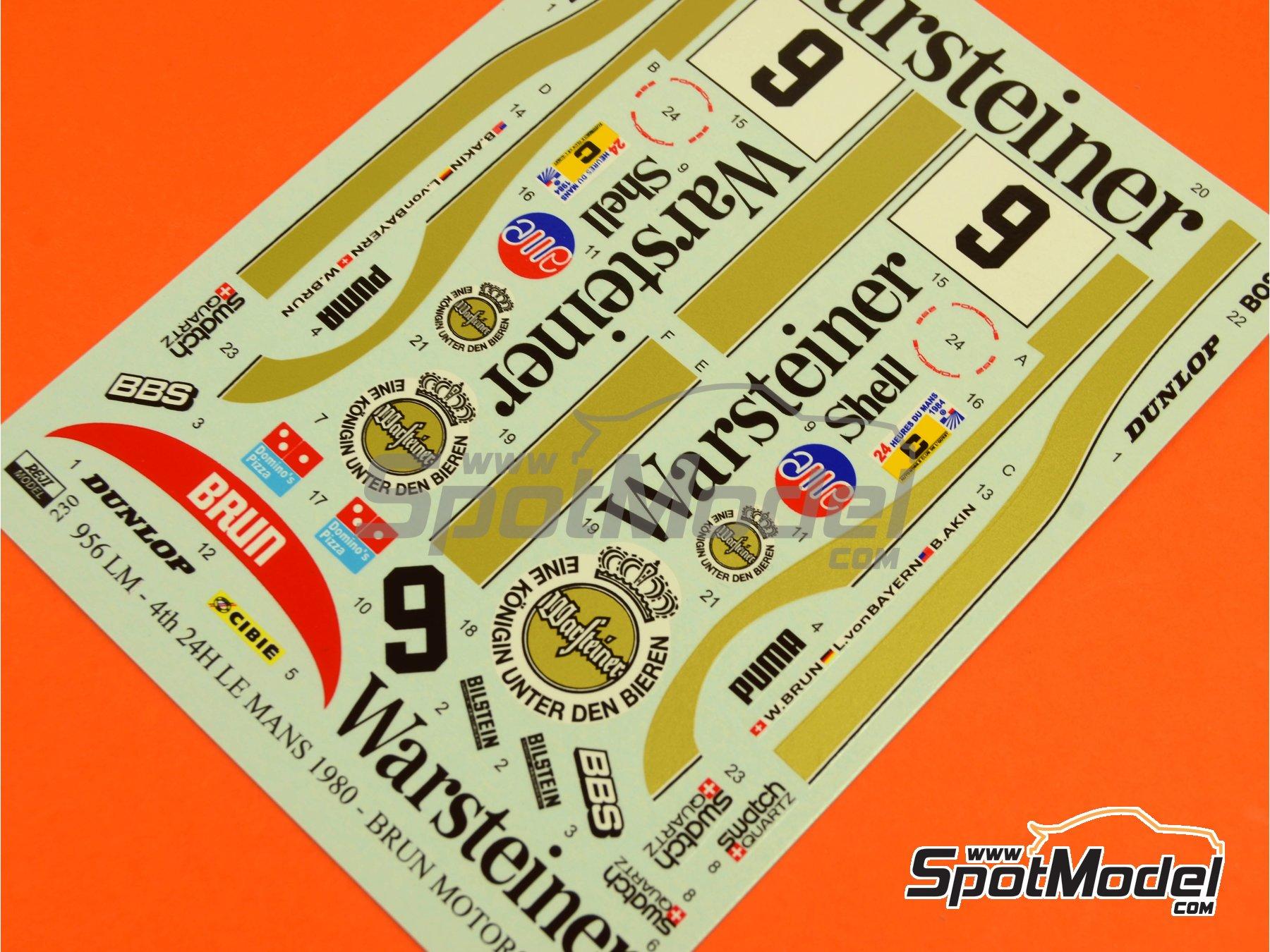 Image 6: Porsche 956 Warsteiner - 24 Horas de Le Mans 1984 | Decoración en escala1/24 fabricado por Reji Model (ref.REJI-230)