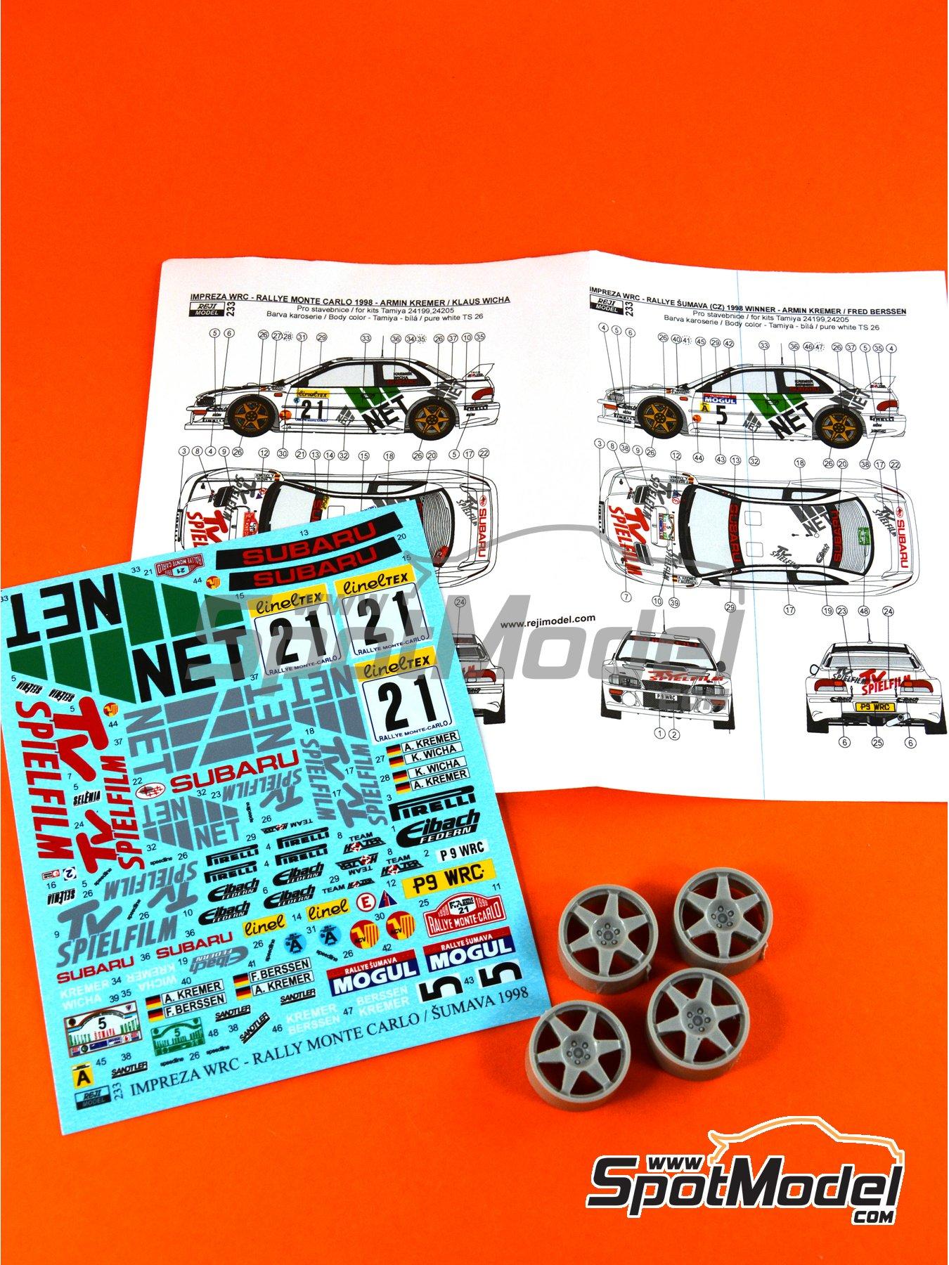 Subaru Impreza WRC TV Spielfilm - Rally de Montecarlo 1998 | Decoración en escala1/24 fabricado por Reji Model (ref.REJI-233) image
