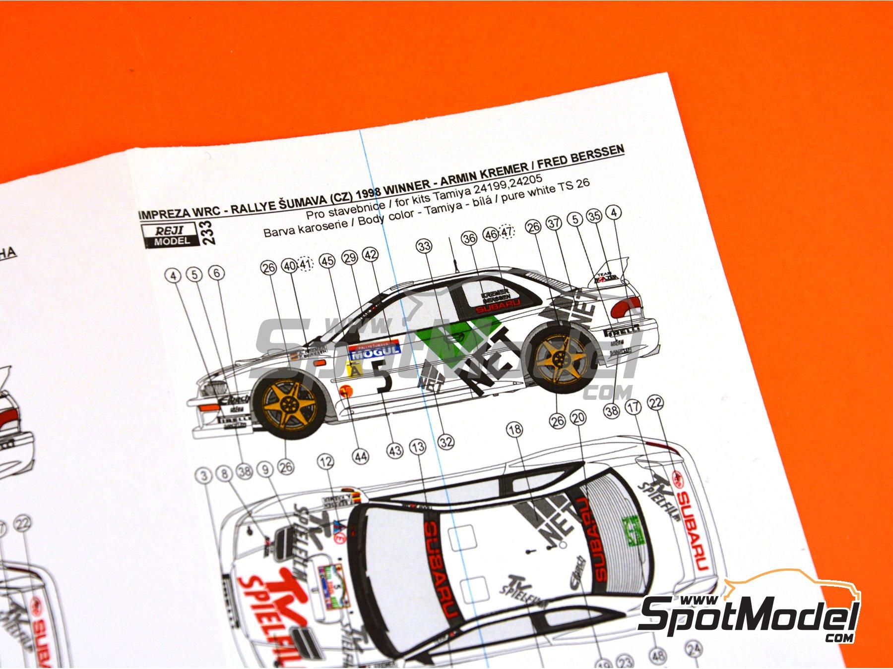 Image 8: Subaru Impreza WRC TV Spielfilm - Rally de Montecarlo 1998 | Decoración en escala1/24 fabricado por Reji Model (ref.REJI-233)