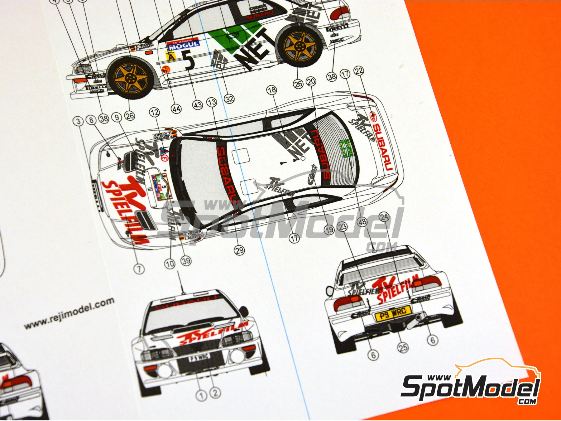 Image 9: Subaru Impreza WRC TV Spielfilm - Rally de Montecarlo 1998 | Decoración en escala1/24 fabricado por Reji Model (ref.REJI-233)
