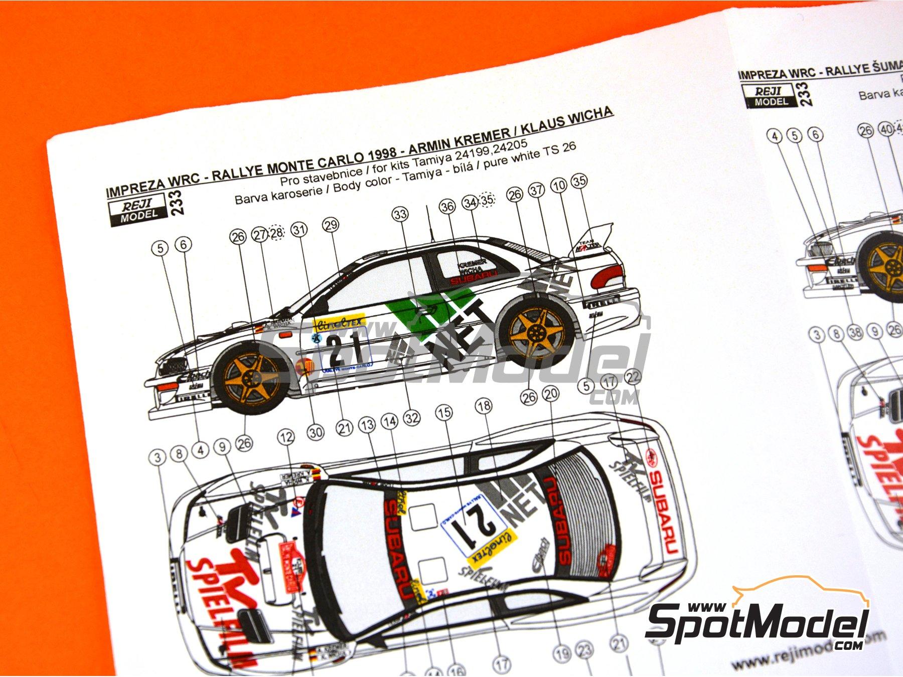 Image 10: Subaru Impreza WRC TV Spielfilm - Rally de Montecarlo 1998 | Decoración en escala1/24 fabricado por Reji Model (ref.REJI-233)
