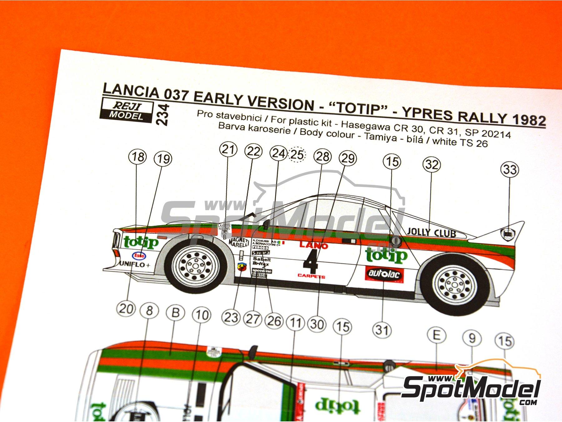 Image 14: Lancia 037 WRC Totip - Rally de Ypres de Belgica 1982 | Decoración en escala1/24 fabricado por Reji Model (ref.REJI-234)