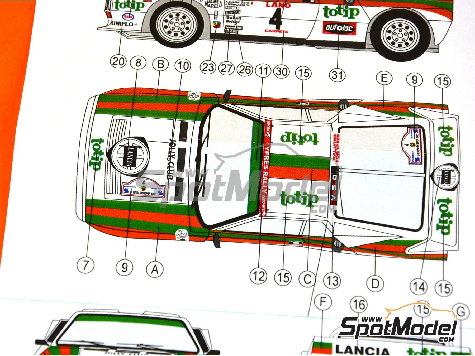 Image 15: Lancia 037 WRC Totip - Rally de Ypres de Belgica 1982 | Decoración en escala1/24 fabricado por Reji Model (ref.REJI-234)