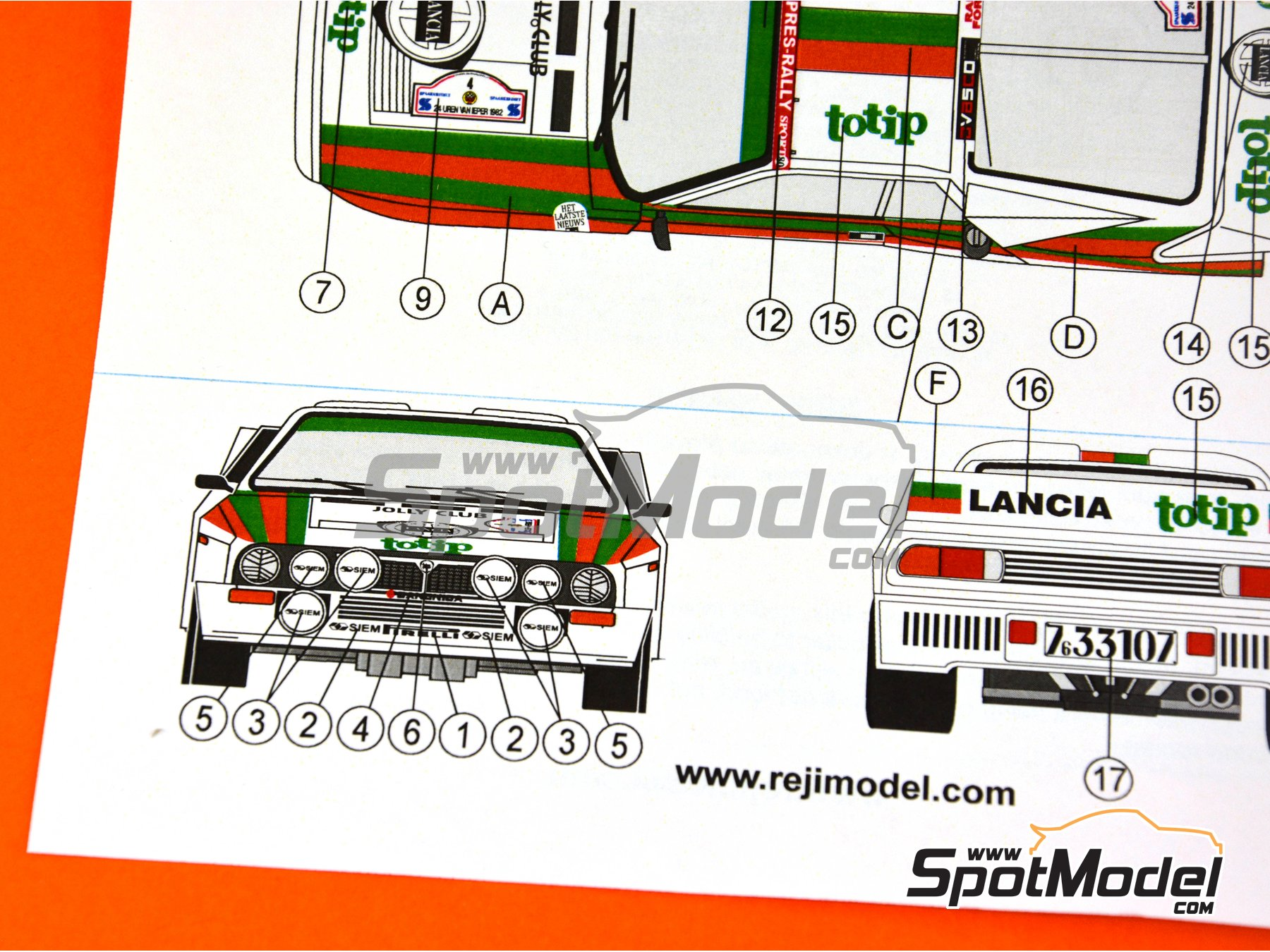 Image 16: Lancia 037 WRC Totip - Rally de Ypres de Belgica 1982 | Decoración en escala1/24 fabricado por Reji Model (ref.REJI-234)