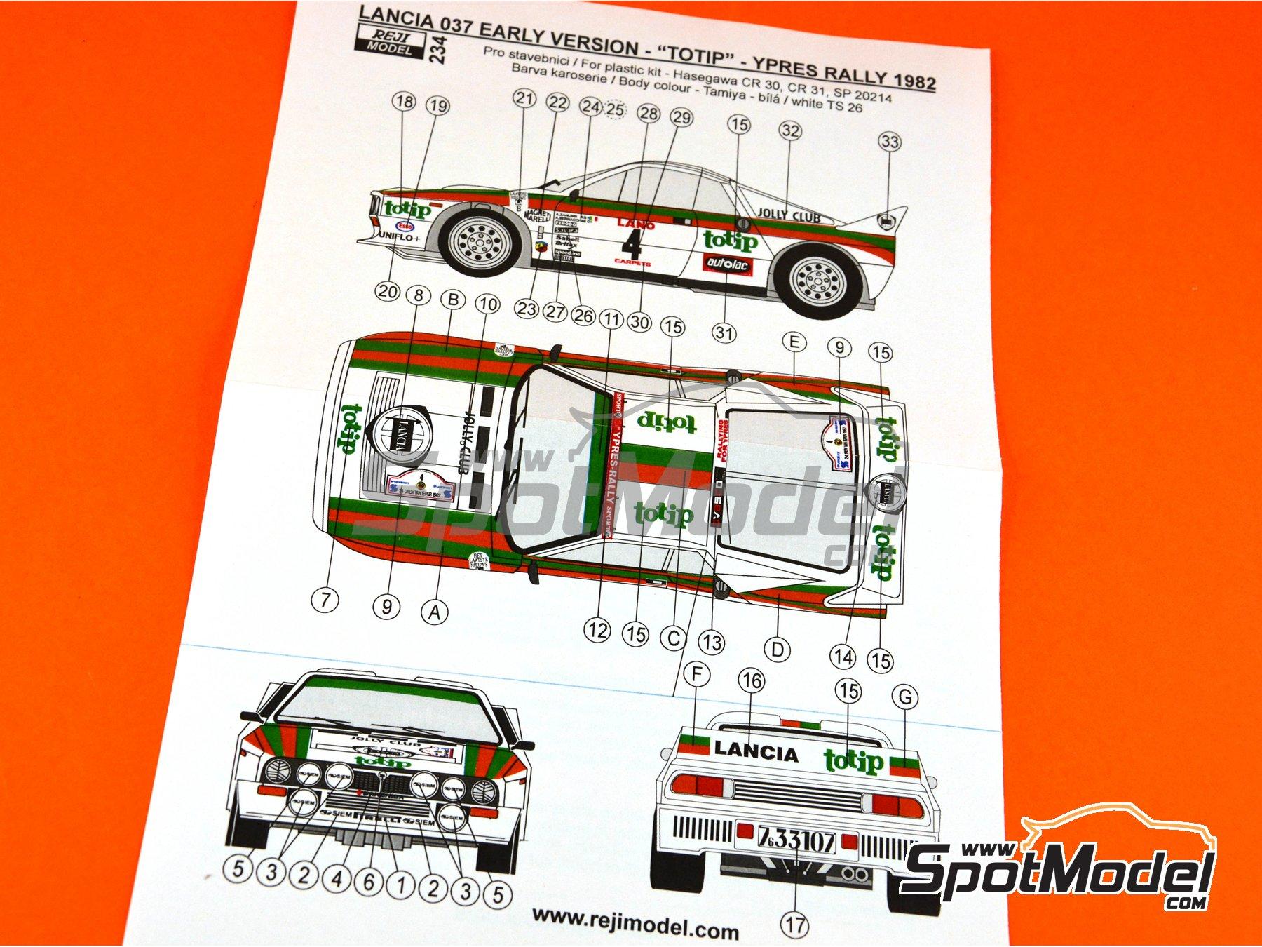 Image 17: Lancia 037 WRC Totip - Rally de Ypres de Belgica 1982 | Decoración en escala1/24 fabricado por Reji Model (ref.REJI-234)