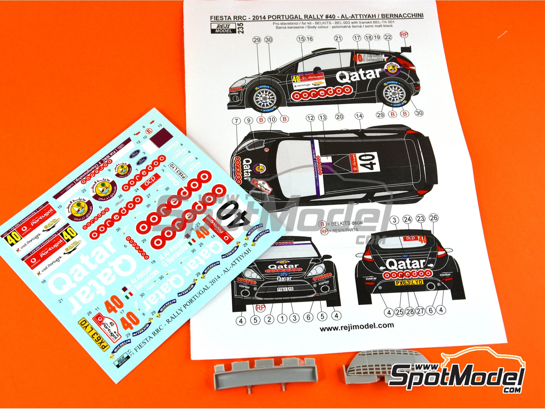 Image 3: Ford Fiesta RRC Qatar - Portugal Rally 2014 | Marking / livery in 1/24 scale manufactured by Reji Model (ref. REJI-235)