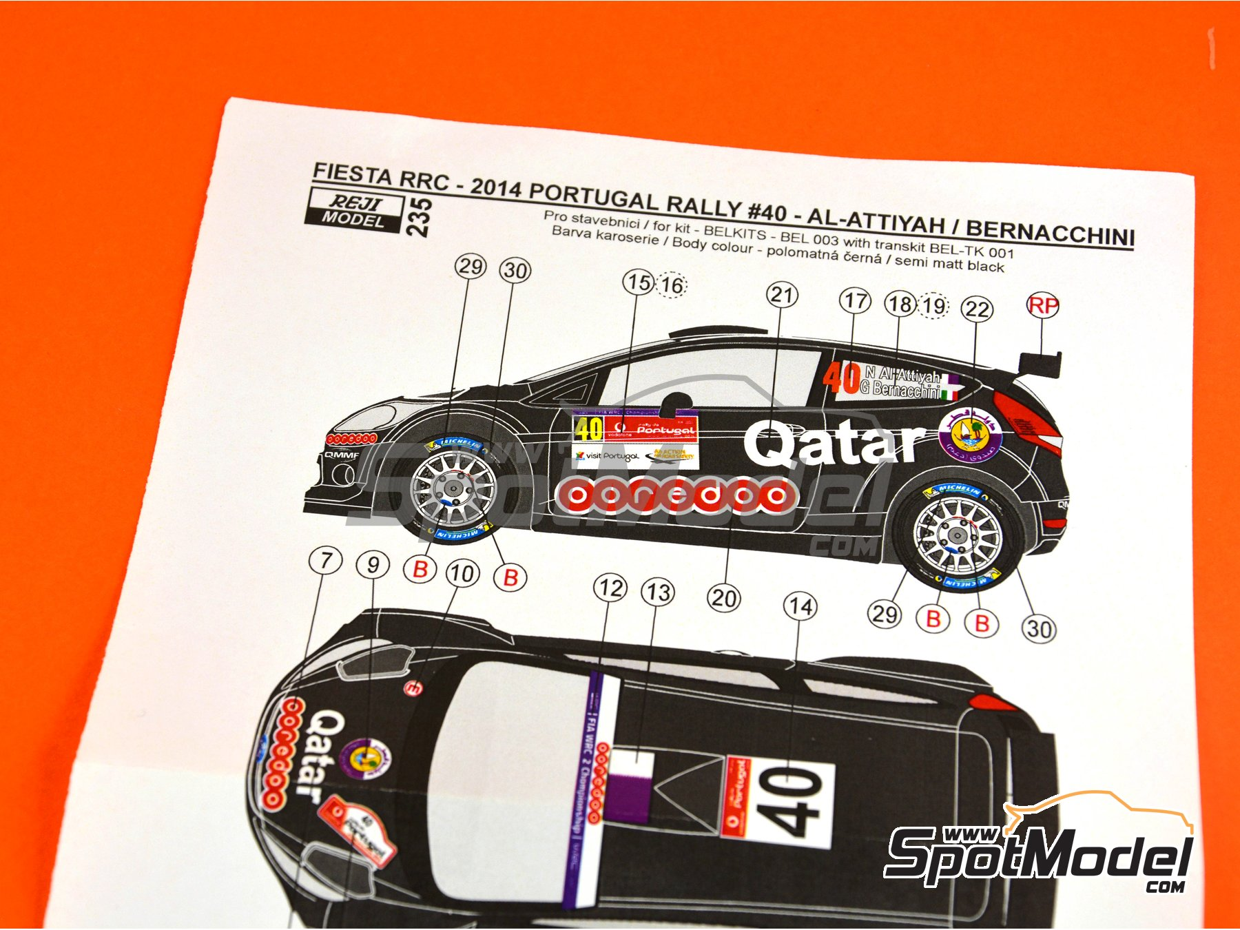 Image 4: Ford Fiesta RRC Qatar - Portugal Rally 2014 | Marking / livery in 1/24 scale manufactured by Reji Model (ref. REJI-235)