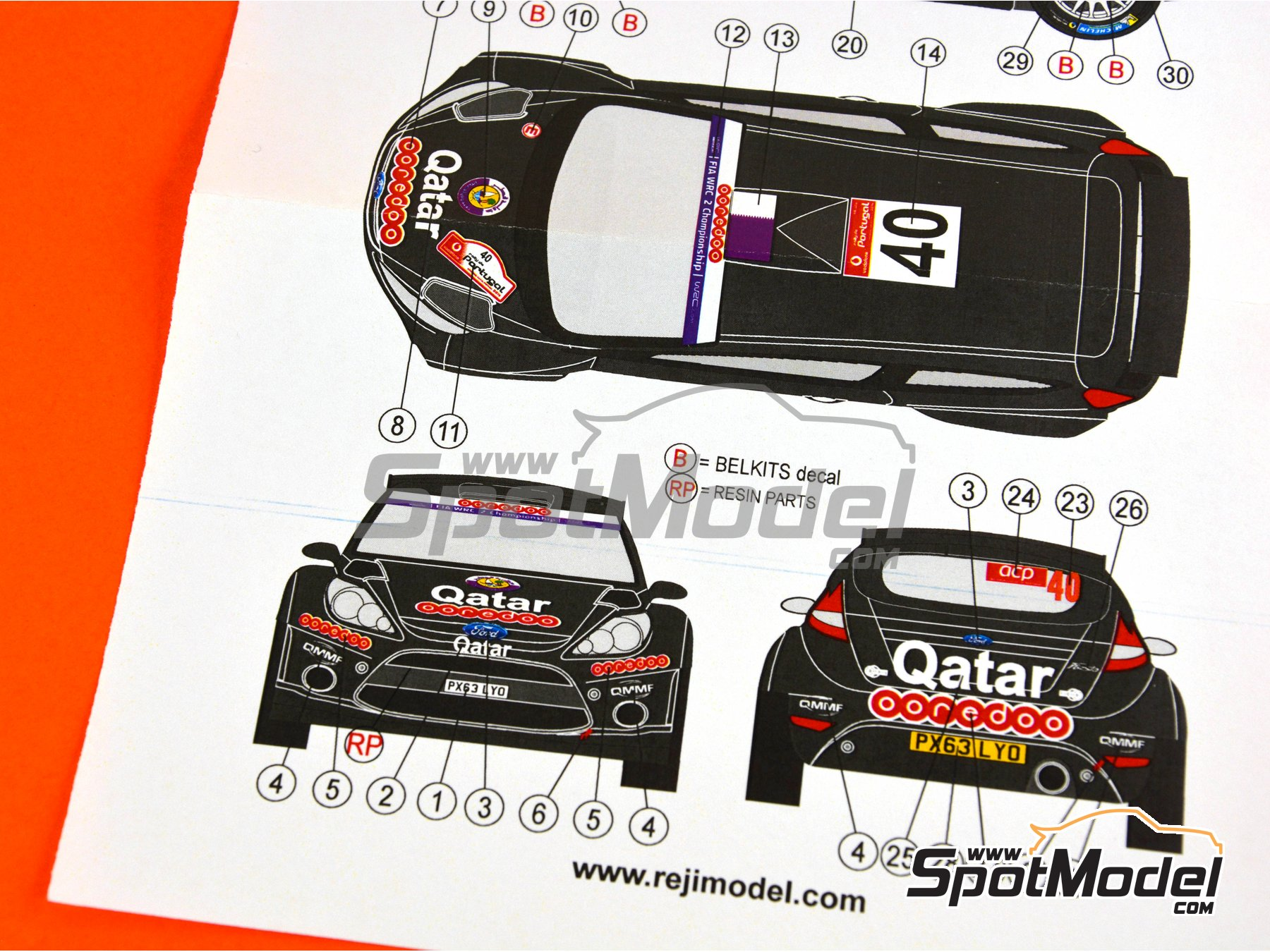 Image 5: Ford Fiesta RRC Qatar - Portugal Rally 2014 | Marking / livery in 1/24 scale manufactured by Reji Model (ref. REJI-235)