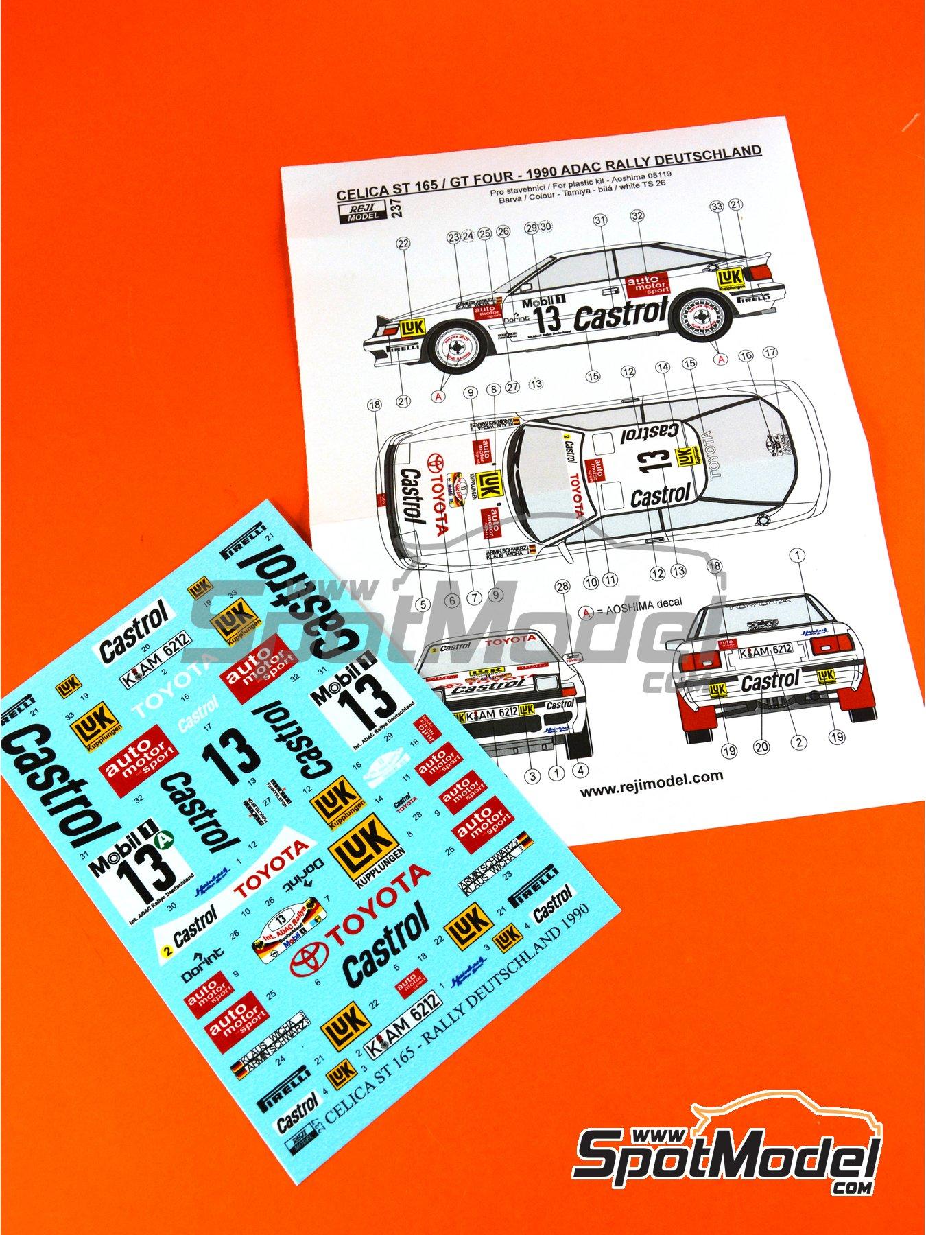 Toyota Celica GT-Four ST165 Castrol - Rally de Alemania ADAC 1990 | Decoración en escala1/24 fabricado por Reji Model (ref.REJI-237) image