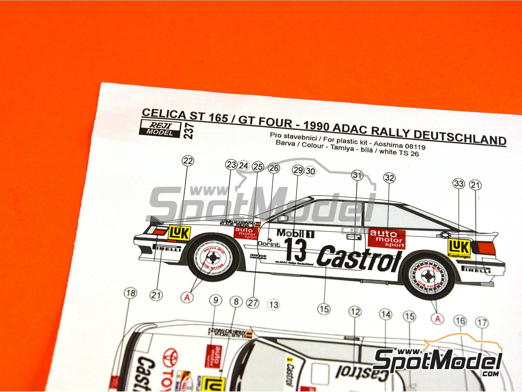 Image 6: Toyota Celica GT-Four ST165 Castrol - Rally de Alemania ADAC 1990 | Decoración en escala1/24 fabricado por Reji Model (ref.REJI-237)