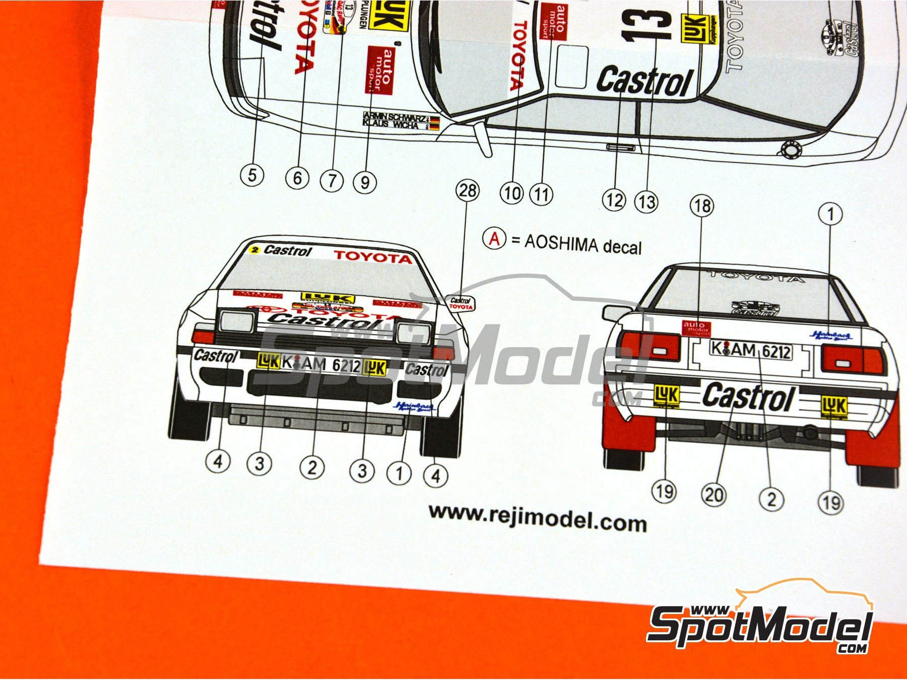 Image 8: Toyota Celica GT-Four ST165 Castrol - Rally de Alemania ADAC 1990 | Decoración en escala1/24 fabricado por Reji Model (ref.REJI-237)