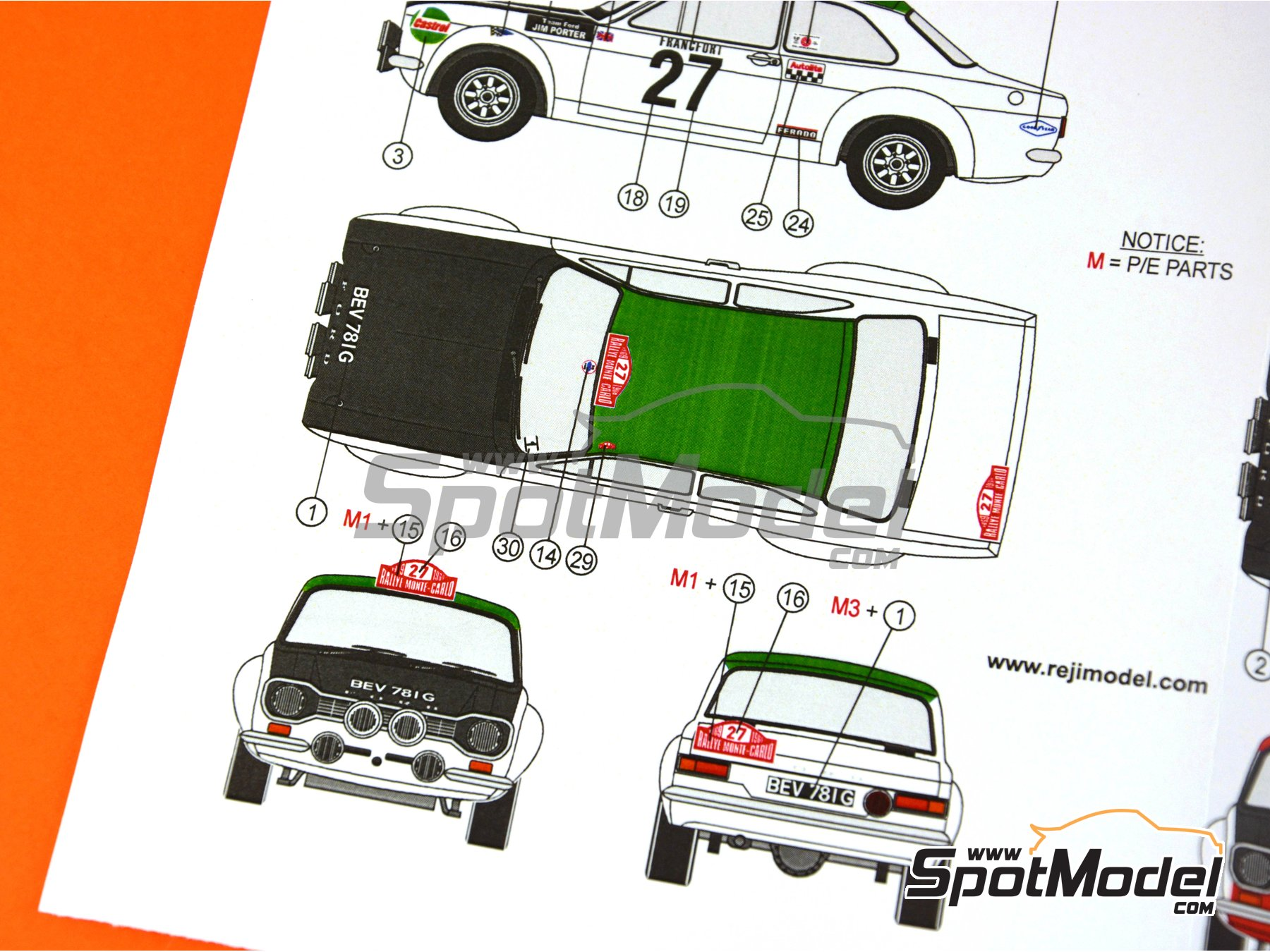 Image 6: Ford Escort RS1600 Mk I - Montecarlo Rally 1969 | Marking in 1/24 scale manufactured by Reji Model (ref. REJI-239)