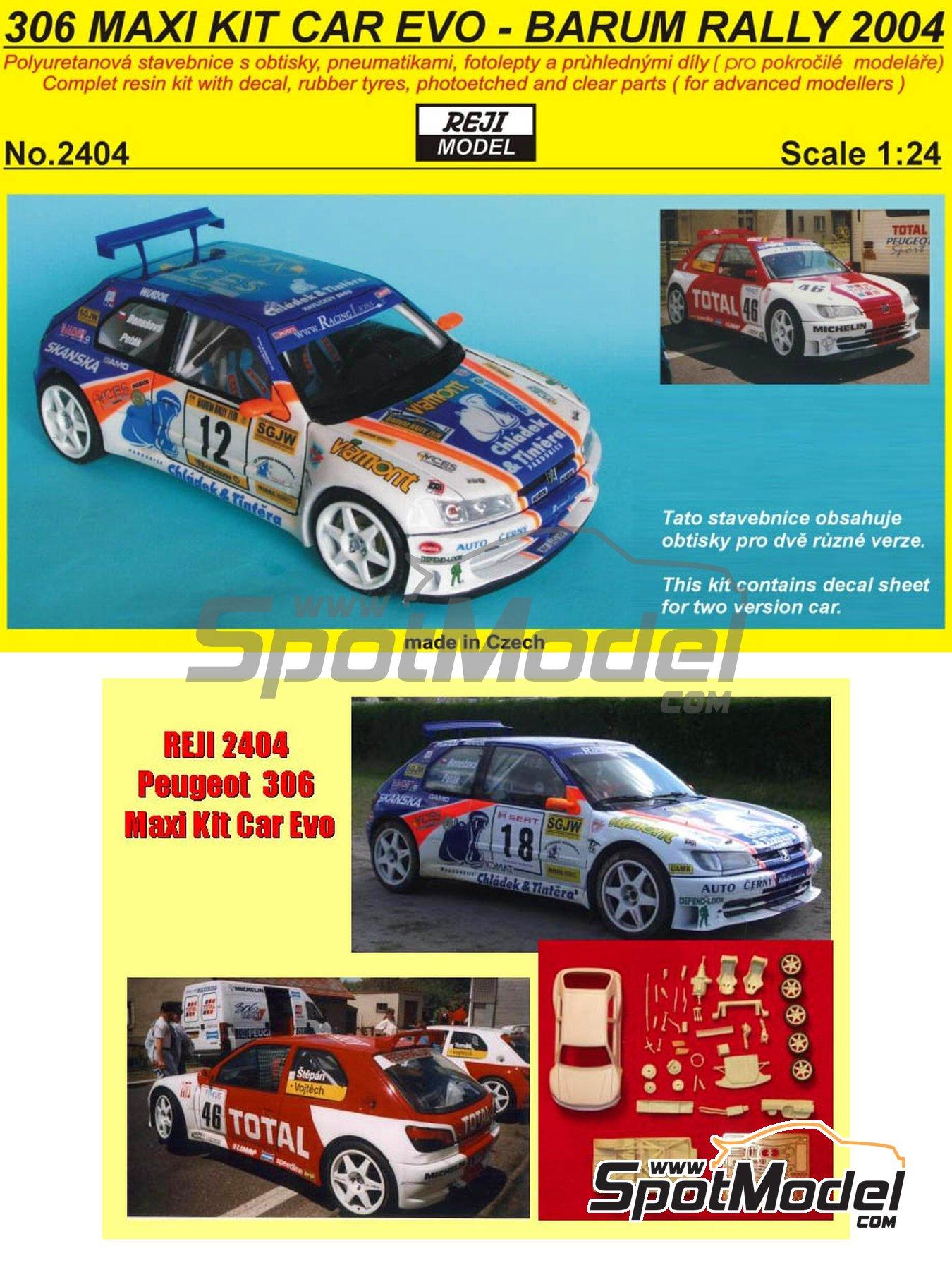 Peugeot 306 Maxi Kit Car Evo Total - Rally Barum de la Republica Checa 2004 | Maqueta de coche en escala1/24 fabricado por Reji Model (ref.REJI-2404, tambien 2404) image