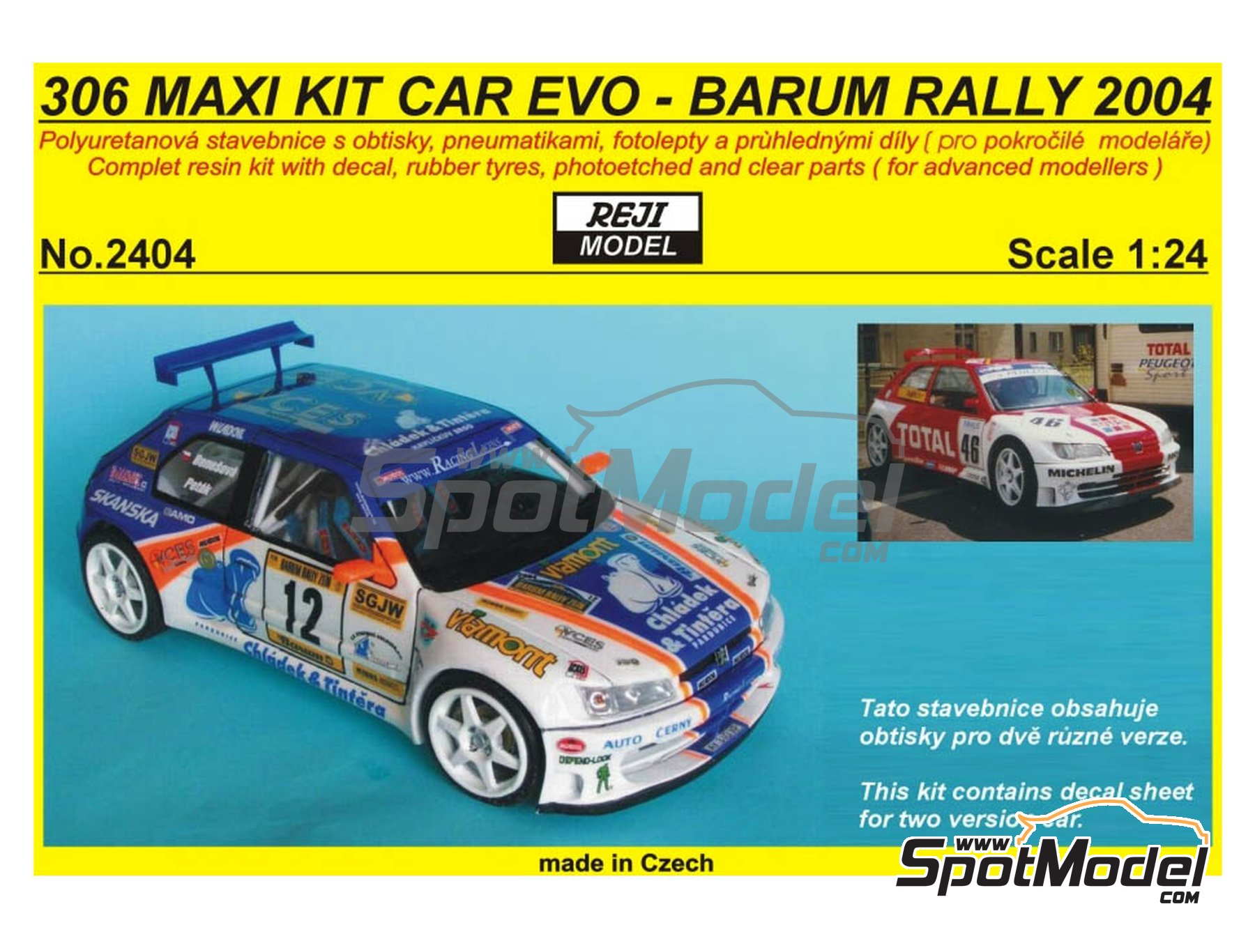 Image 1: Peugeot 306 Maxi Kit Car Evo Total - Rally Barum de la Republica Checa 2004 | Maqueta de coche en escala1/24 fabricado por Reji Model (ref.REJI-2404, tambien 2404)