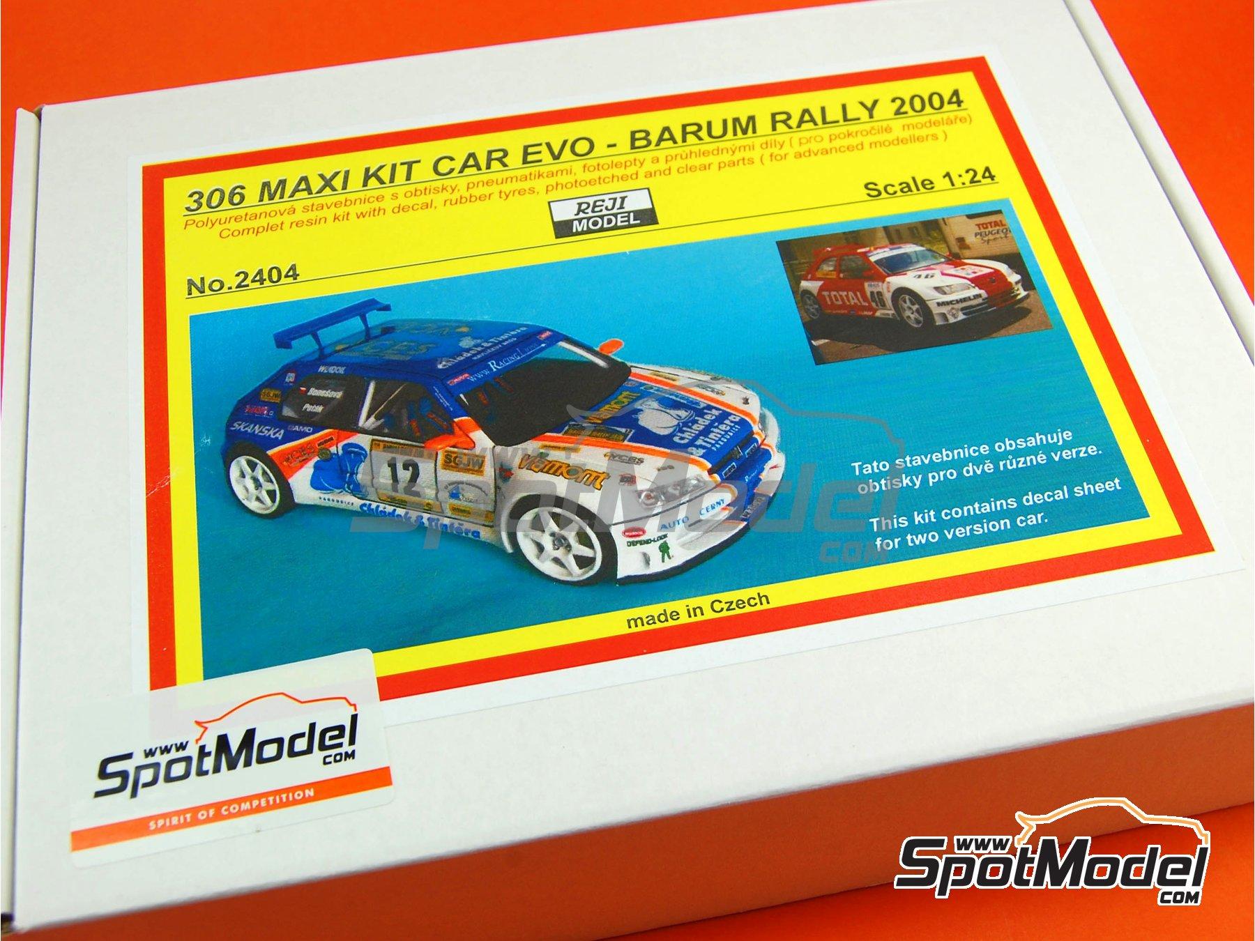 Image 5: Peugeot 306 Maxi Kit Car Evo Total - Rally Barum de la Republica Checa 2004 | Maqueta de coche en escala1/24 fabricado por Reji Model (ref.REJI-2404, tambien 2404)