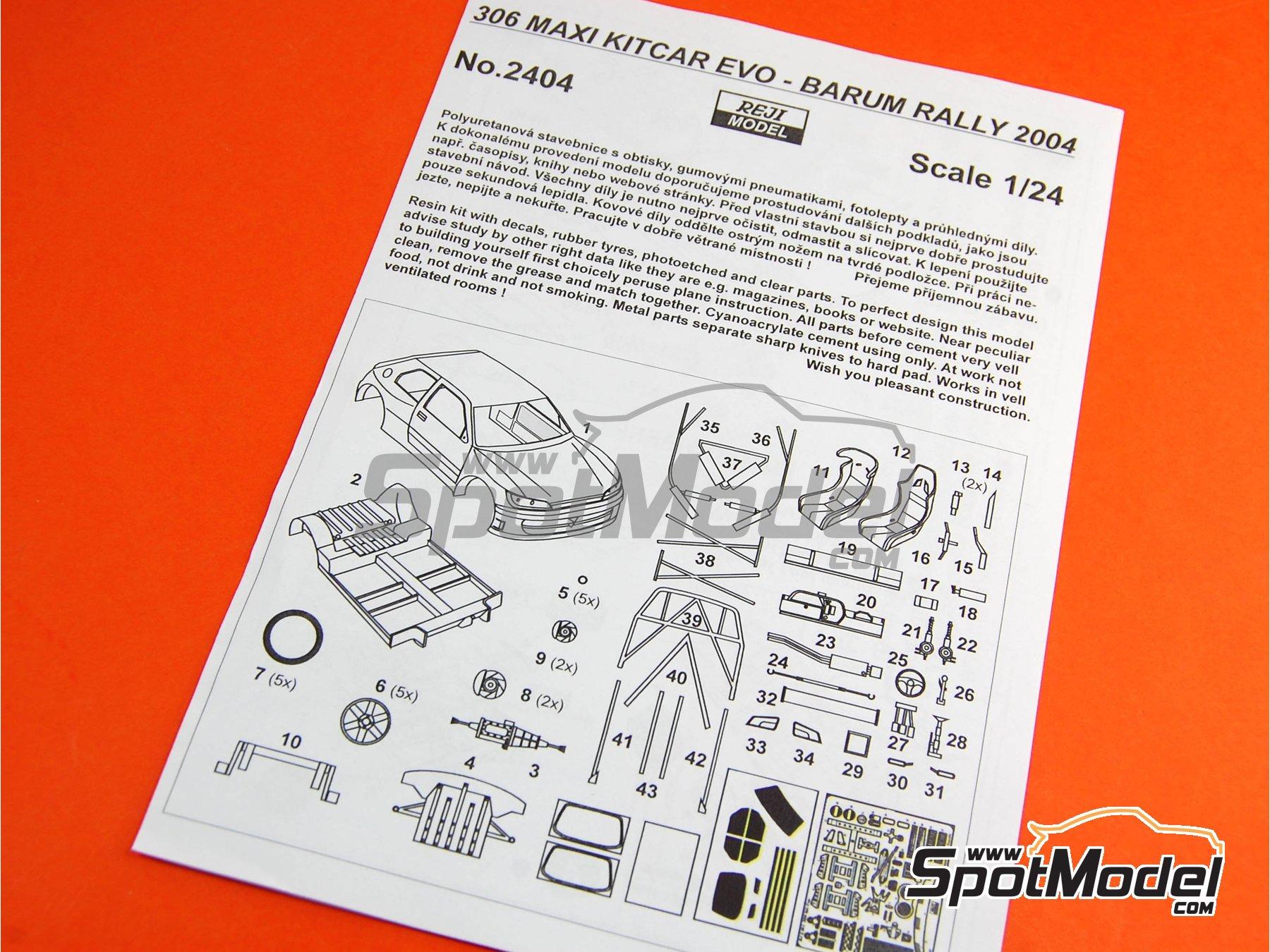Image 25: Peugeot 306 Maxi Kit Car Evo Total - Rally Barum de la Republica Checa 2004 | Maqueta de coche en escala1/24 fabricado por Reji Model (ref.REJI-2404, tambien 2404)