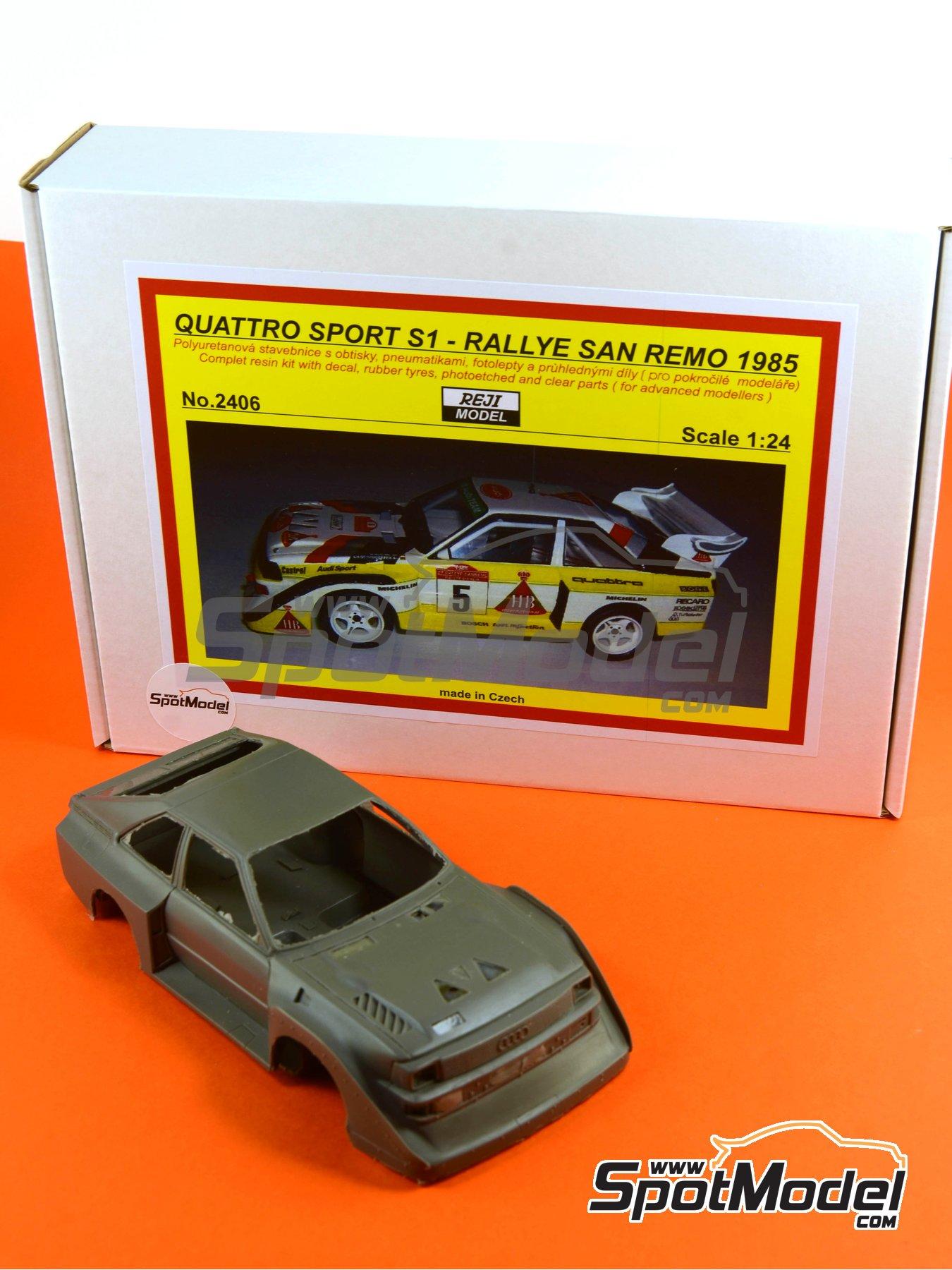 Audi Quattro Sport S1 HB - Montecarlo Rally - Rallye Automobile de Monte-Carlo, Sanremo Rally 1985 and 1986   Model car kit in 1/24 scale manufactured by Reji Model (ref.REJI-2406, also 2406) image