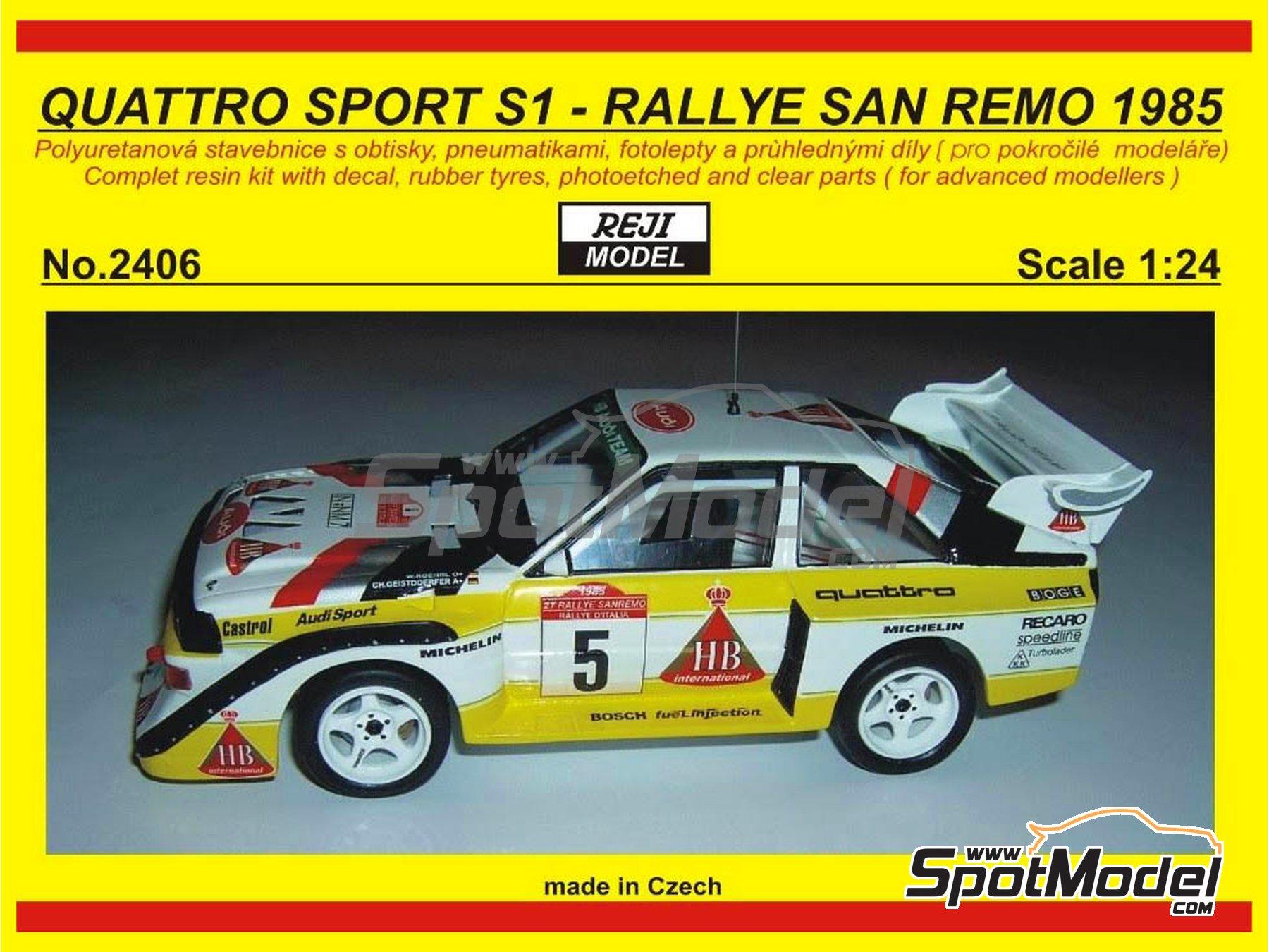 Image 1: Audi Quattro Sport S1 HB - Montecarlo Rally - Rallye Automobile de Monte-Carlo, Sanremo Rally 1985 and 1986   Model car kit in 1/24 scale manufactured by Reji Model (ref.REJI-2406, also 2406)