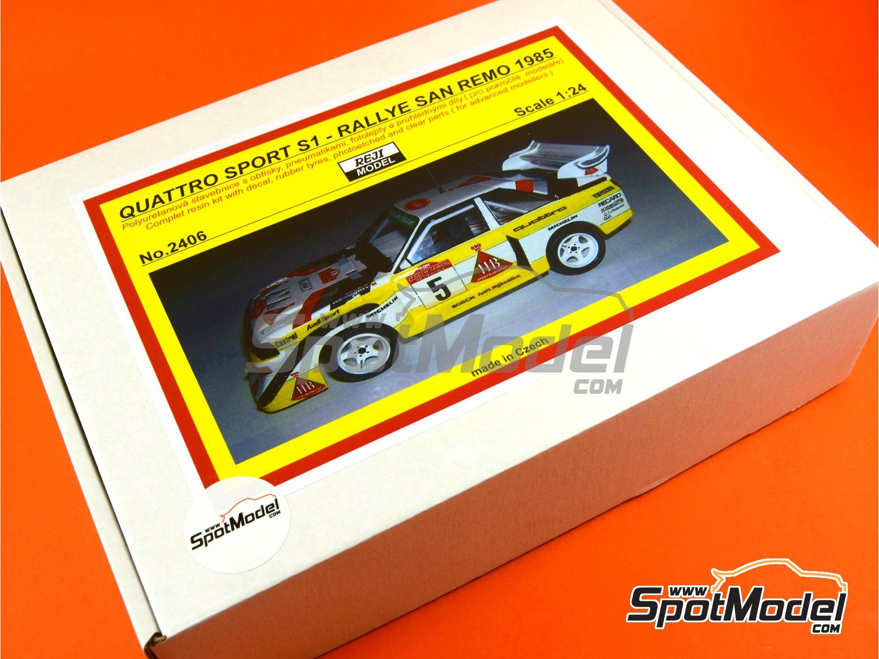 Image 2: Audi Quattro Sport S1 HB - Montecarlo Rally - Rallye Automobile de Monte-Carlo, Sanremo Rally 1985 and 1986   Model car kit in 1/24 scale manufactured by Reji Model (ref.REJI-2406, also 2406)