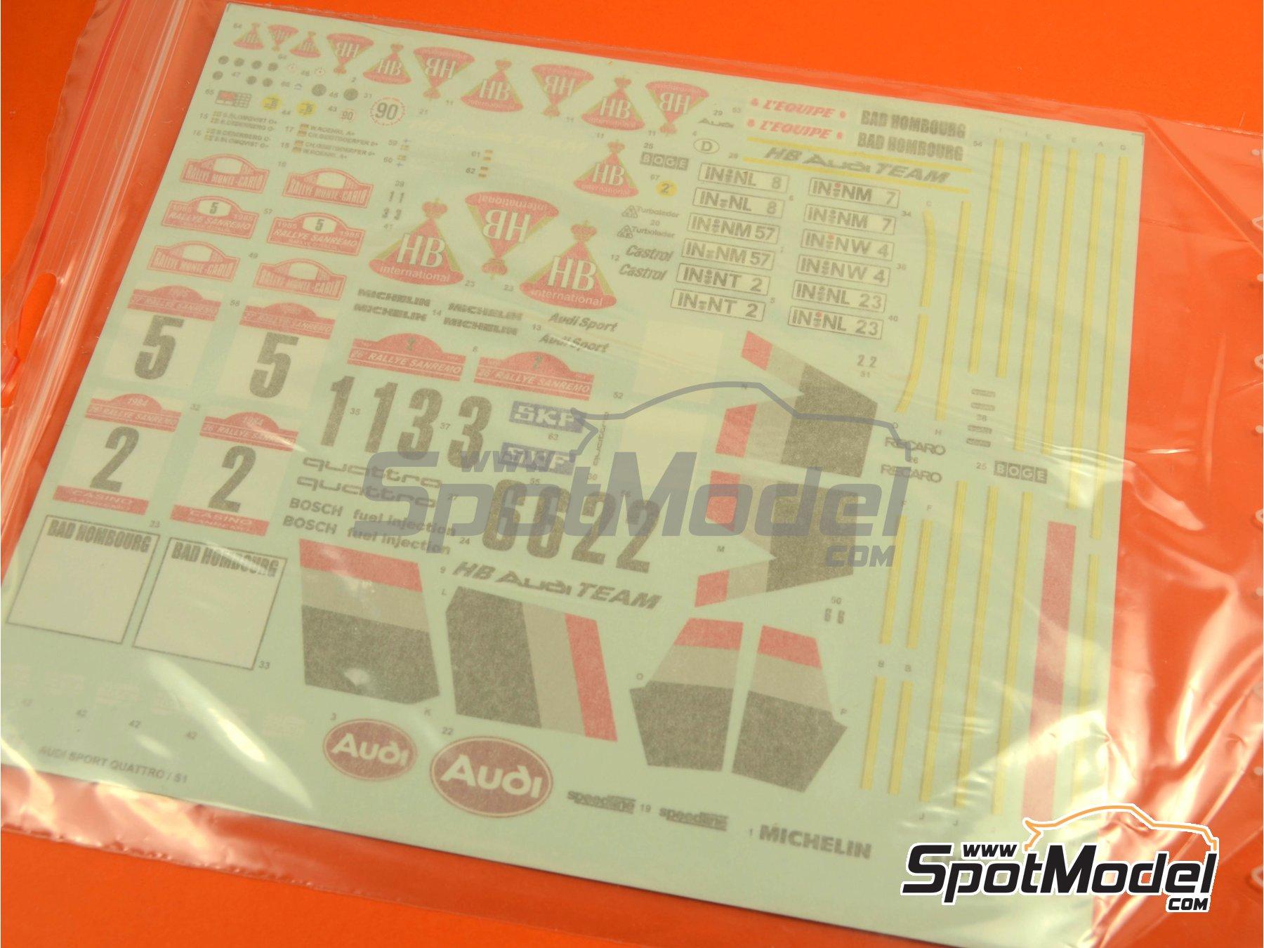 Image 24: Audi Quattro Sport S1 HB - Montecarlo Rally - Rallye Automobile de Monte-Carlo, Sanremo Rally 1985 and 1986   Model car kit in 1/24 scale manufactured by Reji Model (ref.REJI-2406, also 2406)