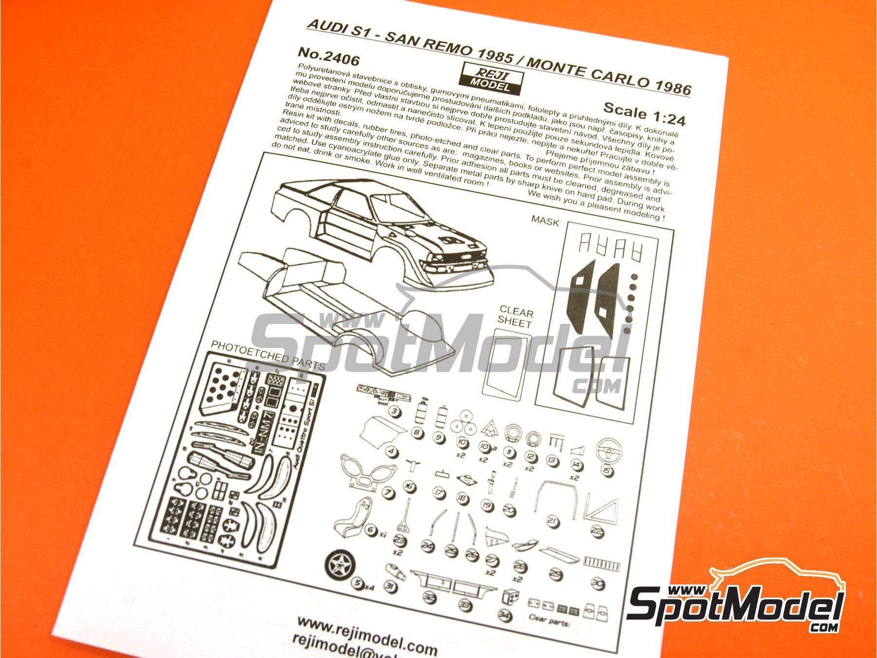 Image 25: Audi Quattro Sport S1 HB - Montecarlo Rally - Rallye Automobile de Monte-Carlo, Sanremo Rally 1985 and 1986   Model car kit in 1/24 scale manufactured by Reji Model (ref.REJI-2406, also 2406)