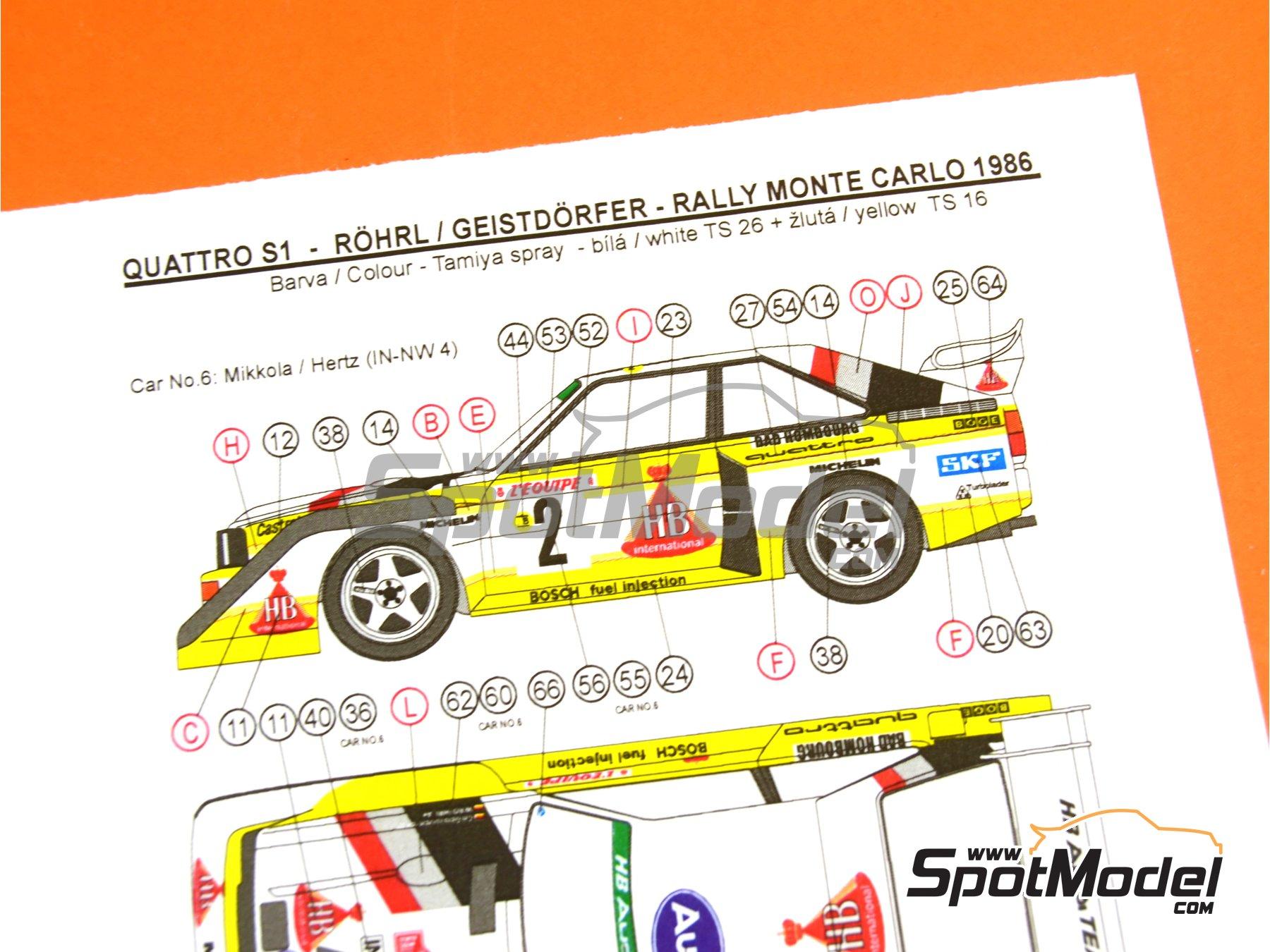 Image 28: Audi Quattro Sport S1 HB - Montecarlo Rally - Rallye Automobile de Monte-Carlo, Sanremo Rally 1985 and 1986   Model car kit in 1/24 scale manufactured by Reji Model (ref.REJI-2406, also 2406)
