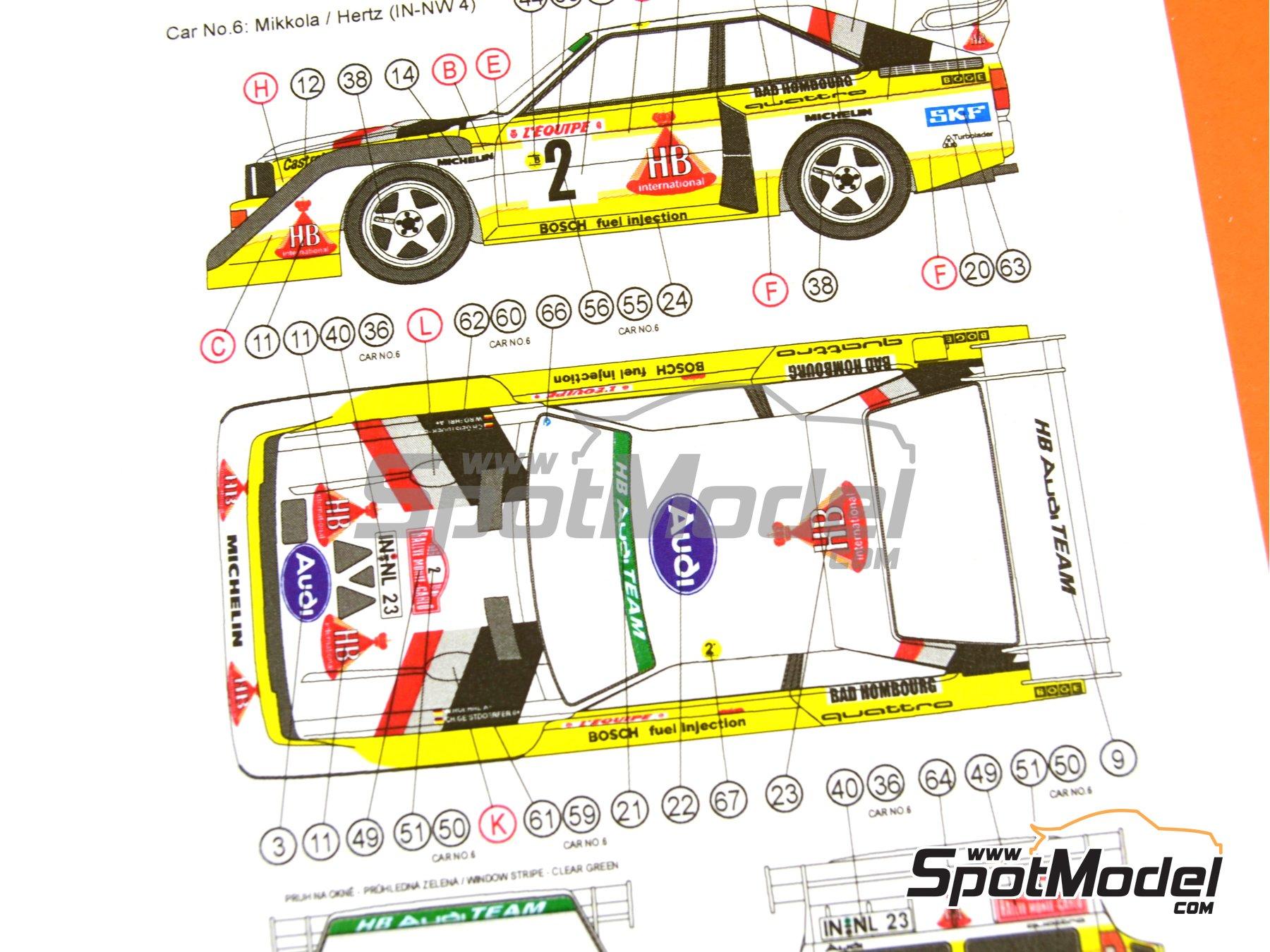 Image 29: Audi Quattro Sport S1 HB - Montecarlo Rally - Rallye Automobile de Monte-Carlo, Sanremo Rally 1985 and 1986   Model car kit in 1/24 scale manufactured by Reji Model (ref.REJI-2406, also 2406)