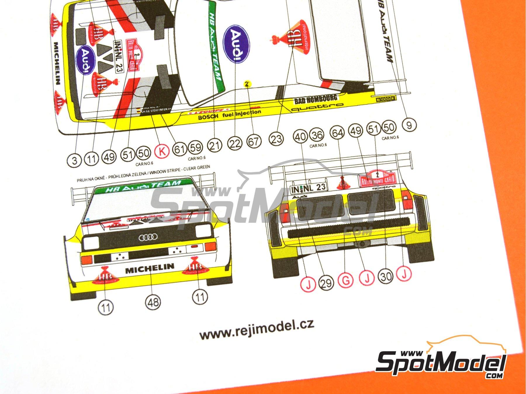 Image 30: Audi Quattro Sport S1 HB - Montecarlo Rally - Rallye Automobile de Monte-Carlo, Sanremo Rally 1985 and 1986   Model car kit in 1/24 scale manufactured by Reji Model (ref.REJI-2406, also 2406)