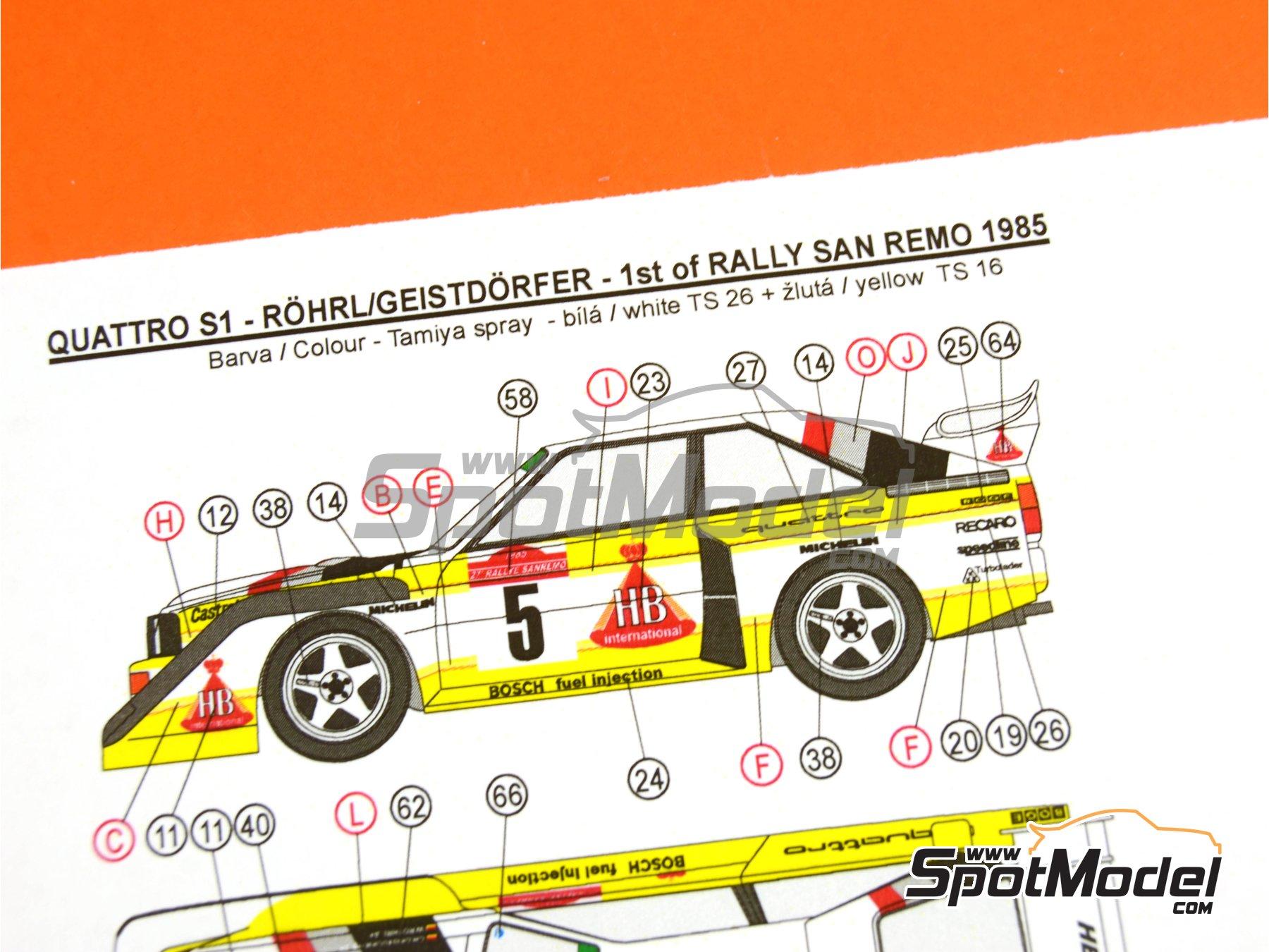 Image 31: Audi Quattro Sport S1 HB - Montecarlo Rally - Rallye Automobile de Monte-Carlo, Sanremo Rally 1985 and 1986   Model car kit in 1/24 scale manufactured by Reji Model (ref.REJI-2406, also 2406)