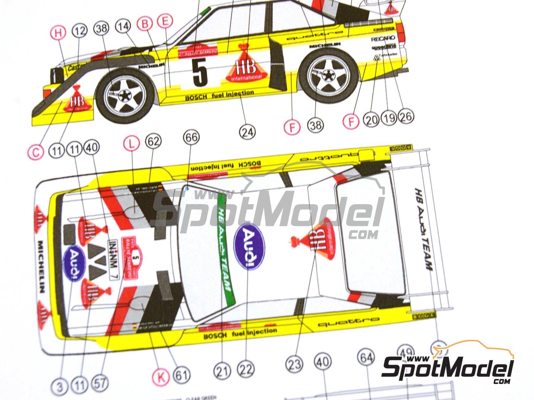 Image 32: Audi Quattro Sport S1 HB - Montecarlo Rally - Rallye Automobile de Monte-Carlo, Sanremo Rally 1985 and 1986   Model car kit in 1/24 scale manufactured by Reji Model (ref.REJI-2406, also 2406)