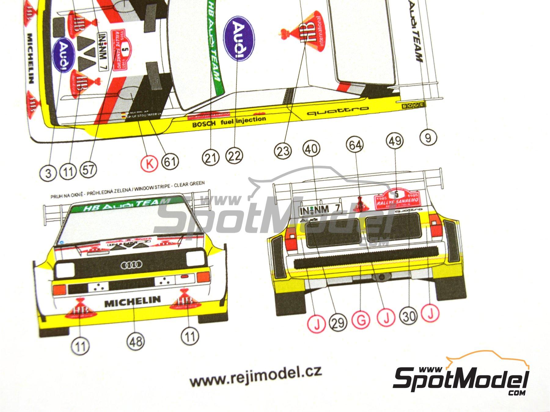 Image 33: Audi Quattro Sport S1 HB - Montecarlo Rally - Rallye Automobile de Monte-Carlo, Sanremo Rally 1985 and 1986   Model car kit in 1/24 scale manufactured by Reji Model (ref.REJI-2406, also 2406)