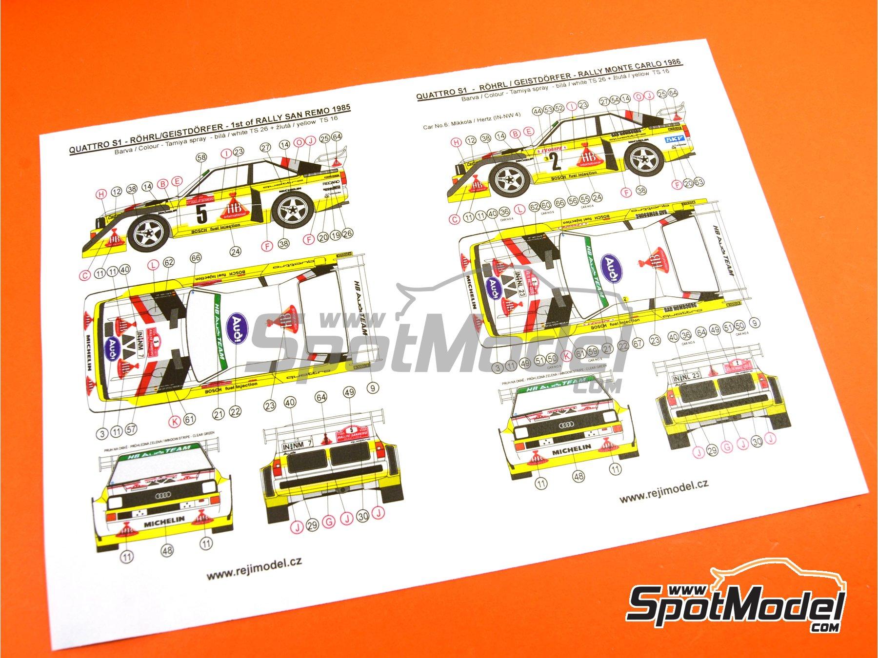 Image 34: Audi Quattro Sport S1 HB - Montecarlo Rally - Rallye Automobile de Monte-Carlo, Sanremo Rally 1985 and 1986   Model car kit in 1/24 scale manufactured by Reji Model (ref.REJI-2406, also 2406)