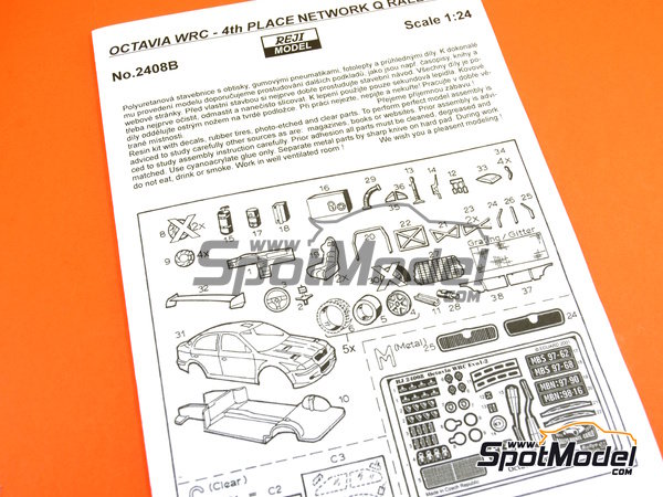 Image 25: Skoda Octavia WRC Castrol - Great Britain RAC Rally 1999 | Model car kit in 1/24 scale manufactured by Reji Model (ref.REJI-2408B, also 2408B)
