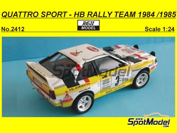 Image 1: Audi Quattro Sport HB - Montecarlo Rally, Sanremo Rally 1984 and 1985 | Model car kit in 1/24 scale manufactured by Reji Model (ref. REJI-2412)