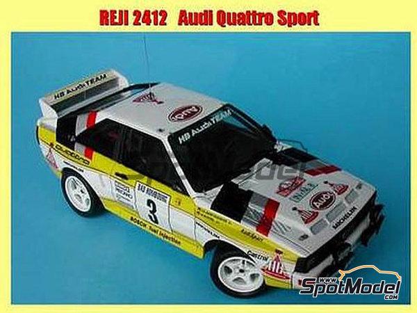 Image 2: Audi Quattro Sport HB - Montecarlo Rally, Sanremo Rally 1984 and 1985 | Model car kit in 1/24 scale manufactured by Reji Model (ref.REJI-2412, also 2412)