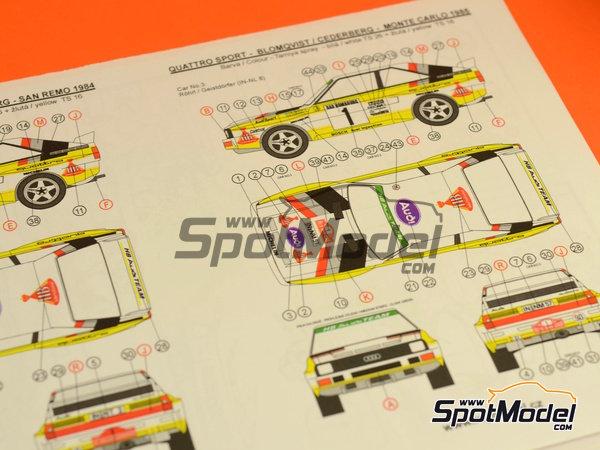 Image 20: Audi Quattro Sport HB - Montecarlo Rally, Sanremo Rally 1984 and 1985 | Model car kit in 1/24 scale manufactured by Reji Model (ref.REJI-2412, also 2412)