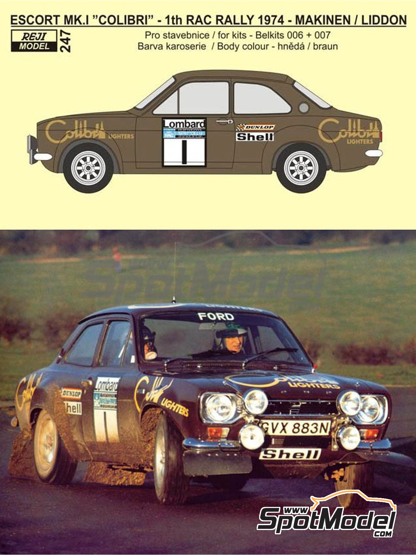 Ford Escort RS1600 Mk I - RAC Rally 1974 | Decals in 1/24 scale manufactured by Reji Model (ref. REJI-247) image