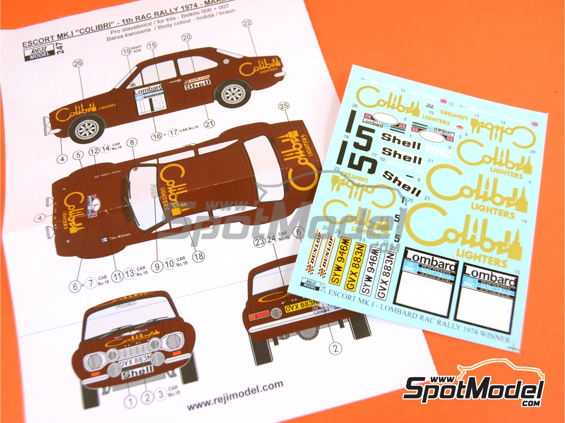 Image 3: Ford Escort RS1600 Mk I - RAC Rally 1974 | Decals in 1/24 scale manufactured by Reji Model (ref. REJI-247)
