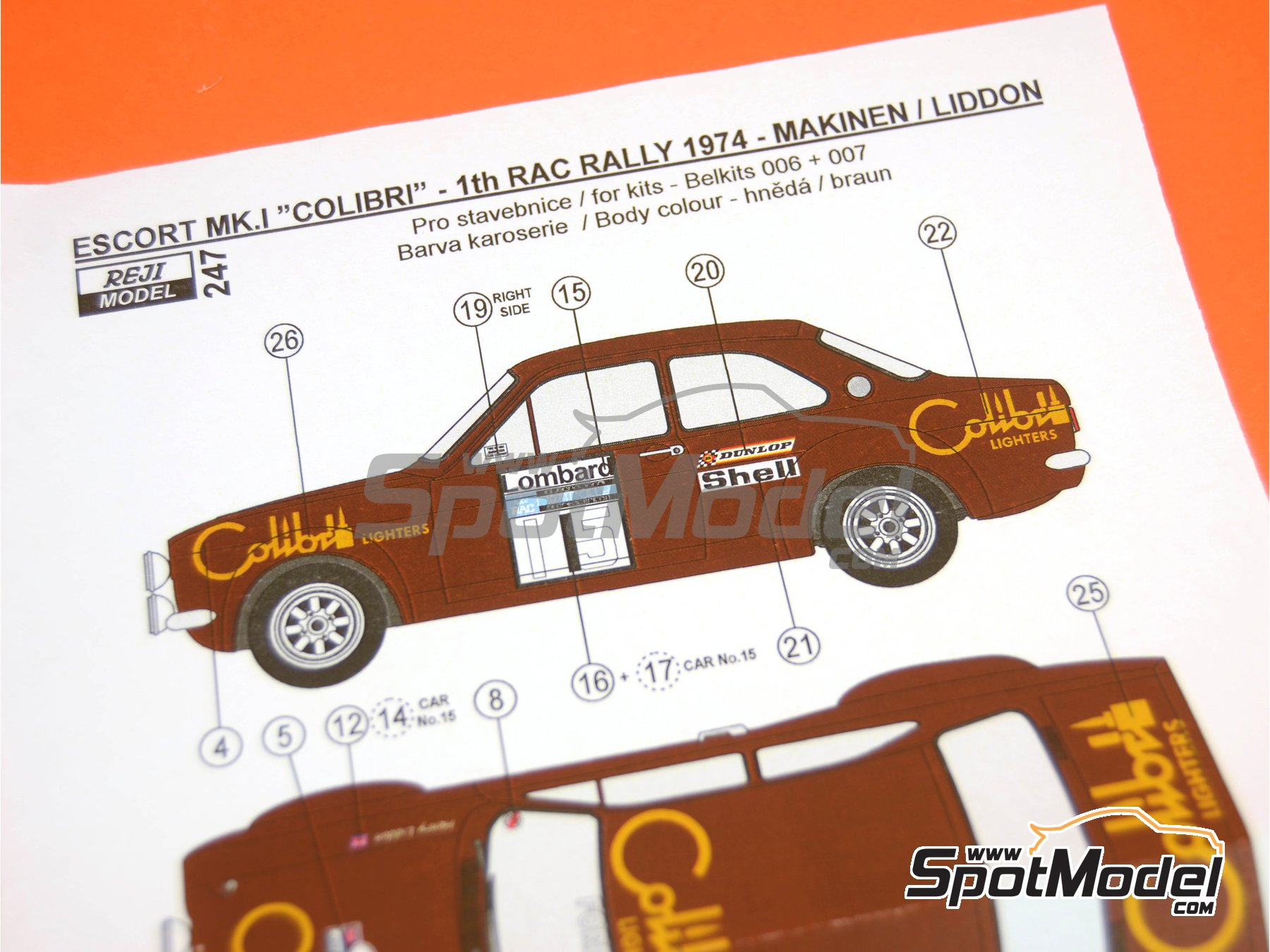 Image 8: Ford Escort RS1600 Mk I - RAC Rally 1974 | Decals in 1/24 scale manufactured by Reji Model (ref. REJI-247)