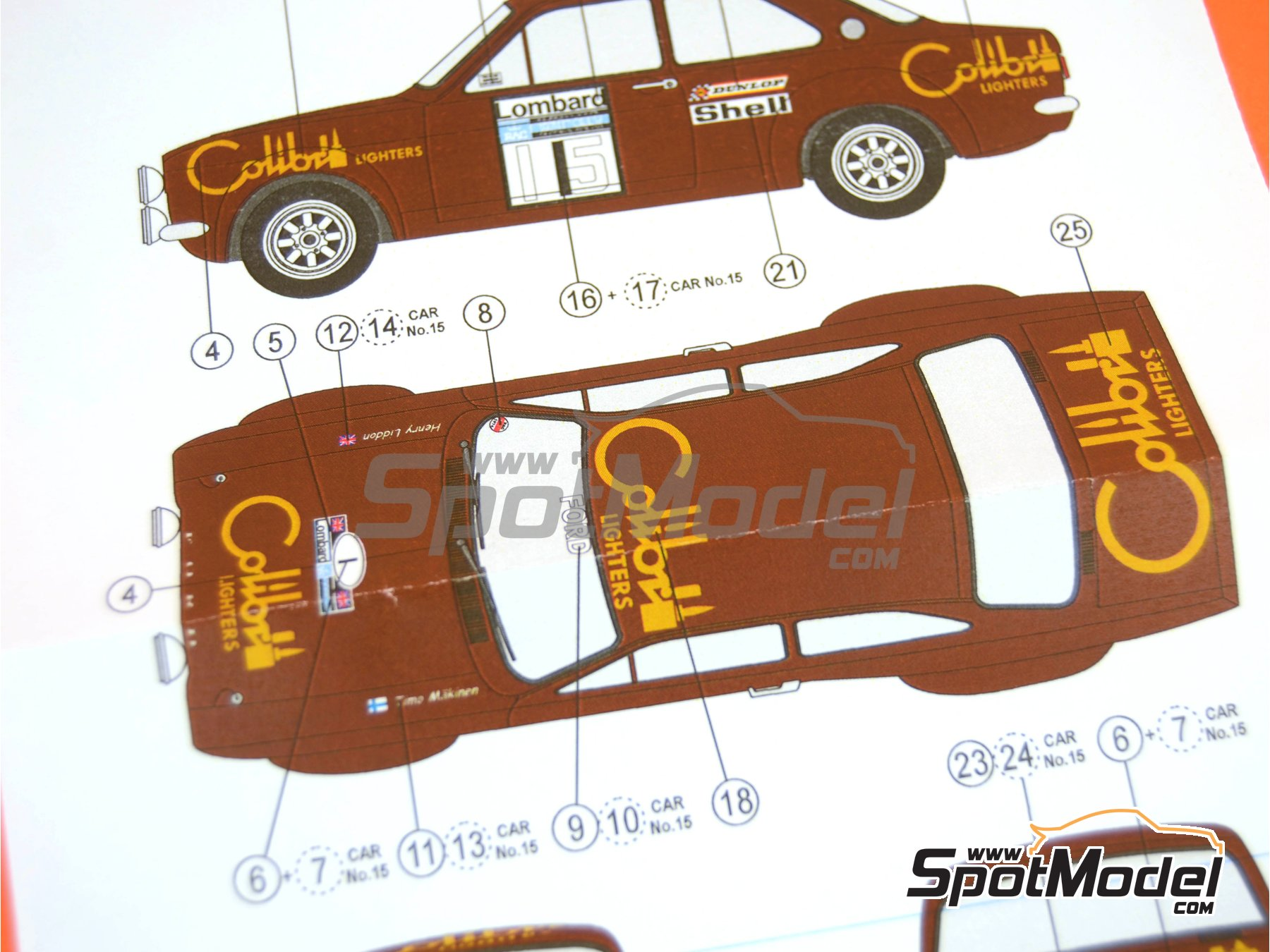Image 9: Ford Escort RS1600 Mk I - RAC Rally 1974 | Decals in 1/24 scale manufactured by Reji Model (ref. REJI-247)