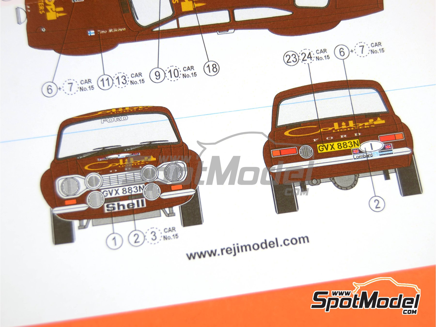 Image 10: Ford Escort RS1600 Mk I - RAC Rally 1974 | Decals in 1/24 scale manufactured by Reji Model (ref. REJI-247)
