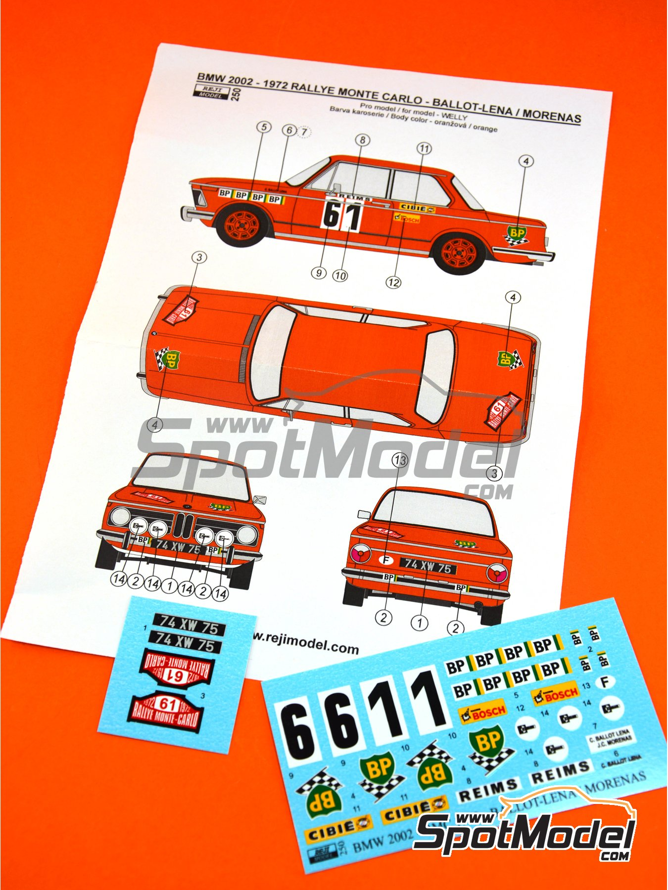 BMW 2002 tii BP - Montecarlo Rally 1972 | Marking / livery in 1/24 scale manufactured by Reji Model (ref. REJI-250) image