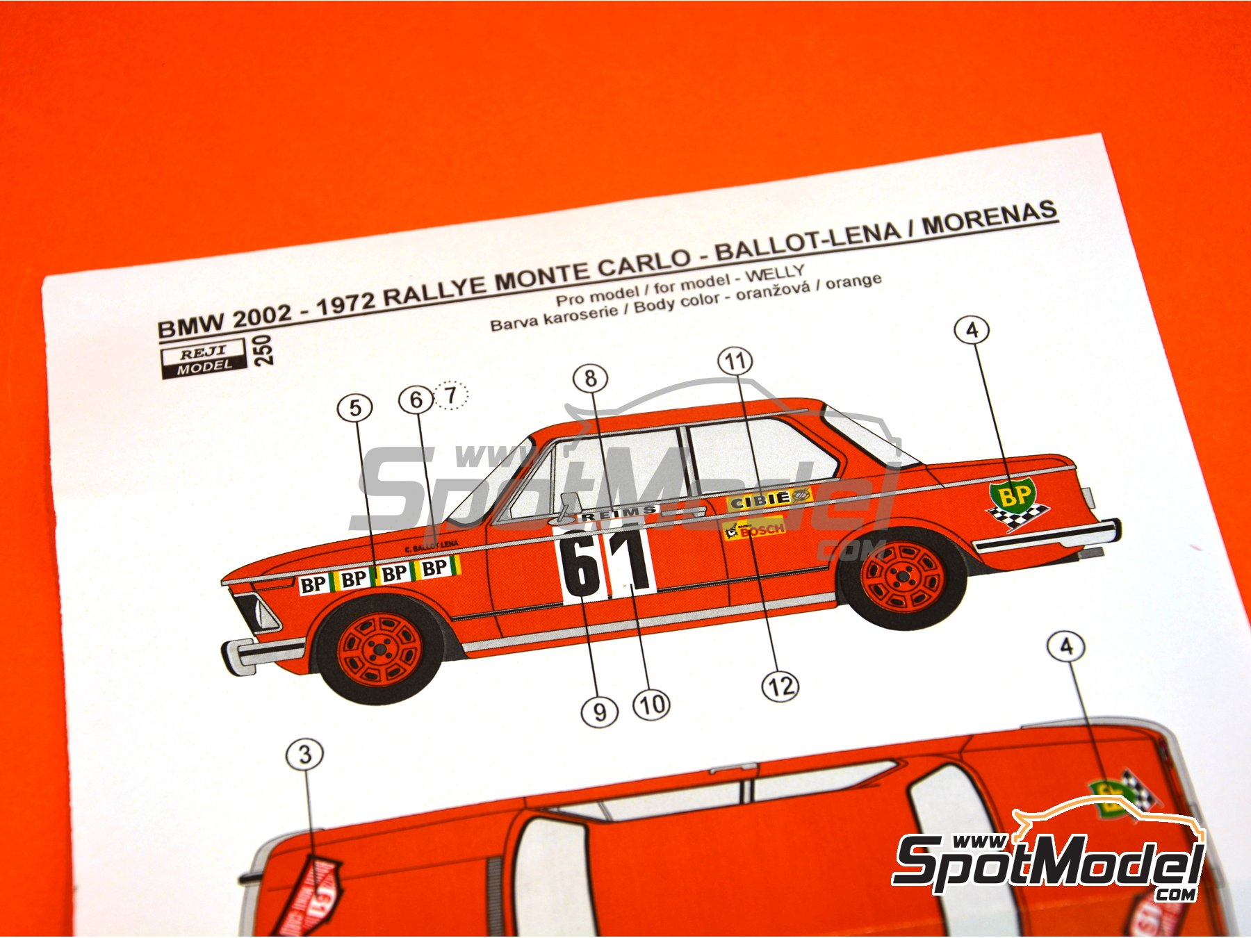 Image 1: BMW 2002 tii BP - Montecarlo Rally 1972 | Marking / livery in 1/24 scale manufactured by Reji Model (ref. REJI-250)