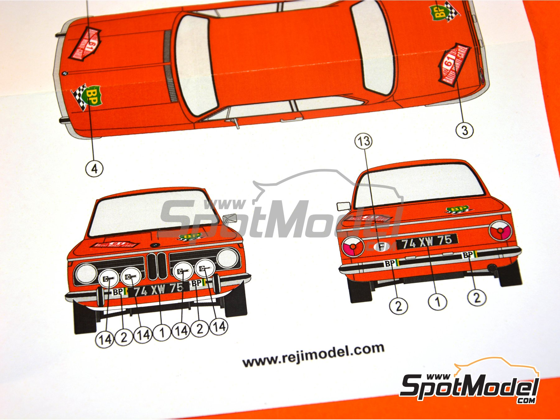 Image 2: BMW 2002 tii BP - Montecarlo Rally 1972 | Marking / livery in 1/24 scale manufactured by Reji Model (ref. REJI-250)