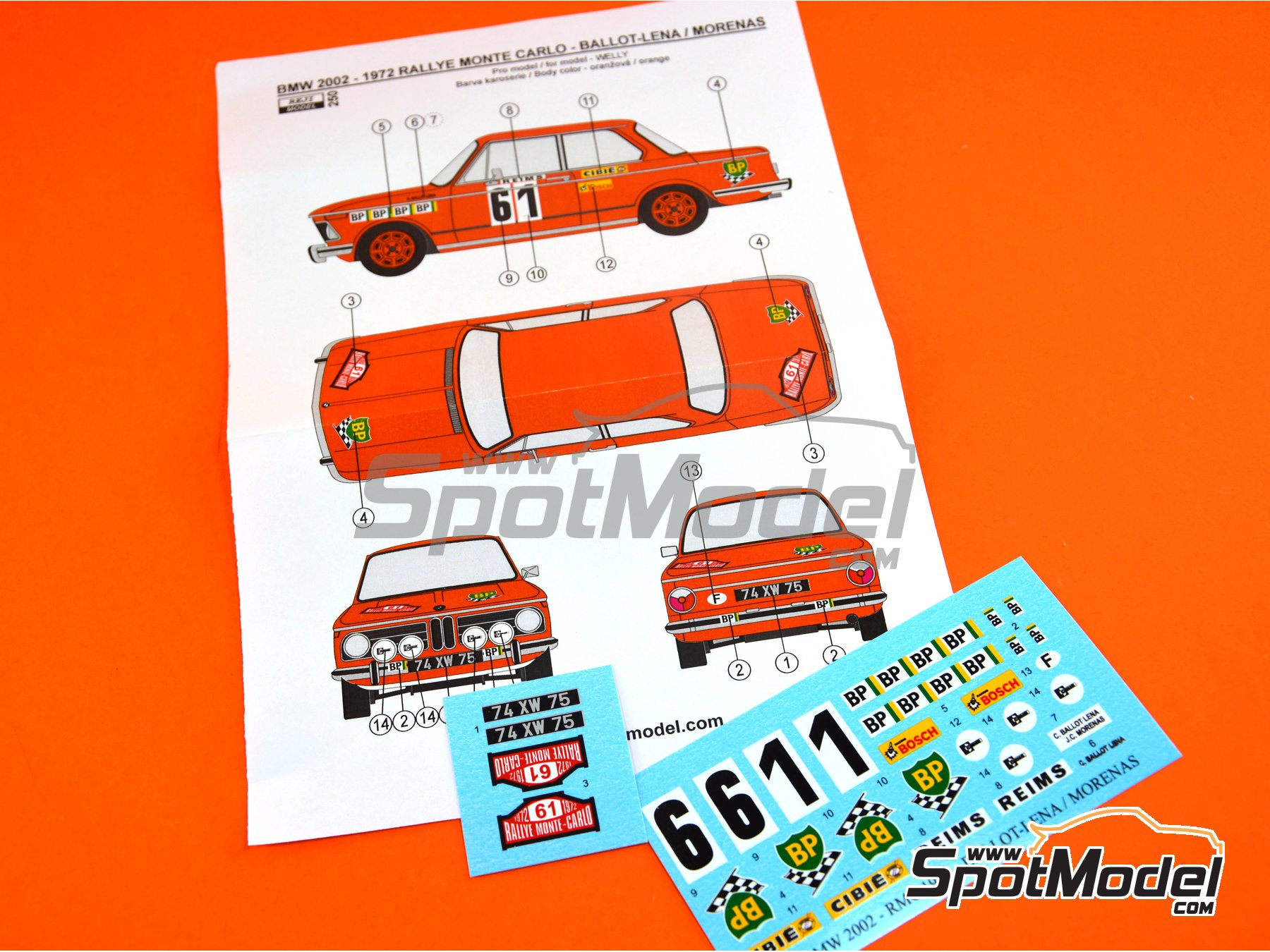 Image 4: BMW 2002 tii BP - Montecarlo Rally 1972 | Marking / livery in 1/24 scale manufactured by Reji Model (ref. REJI-250)