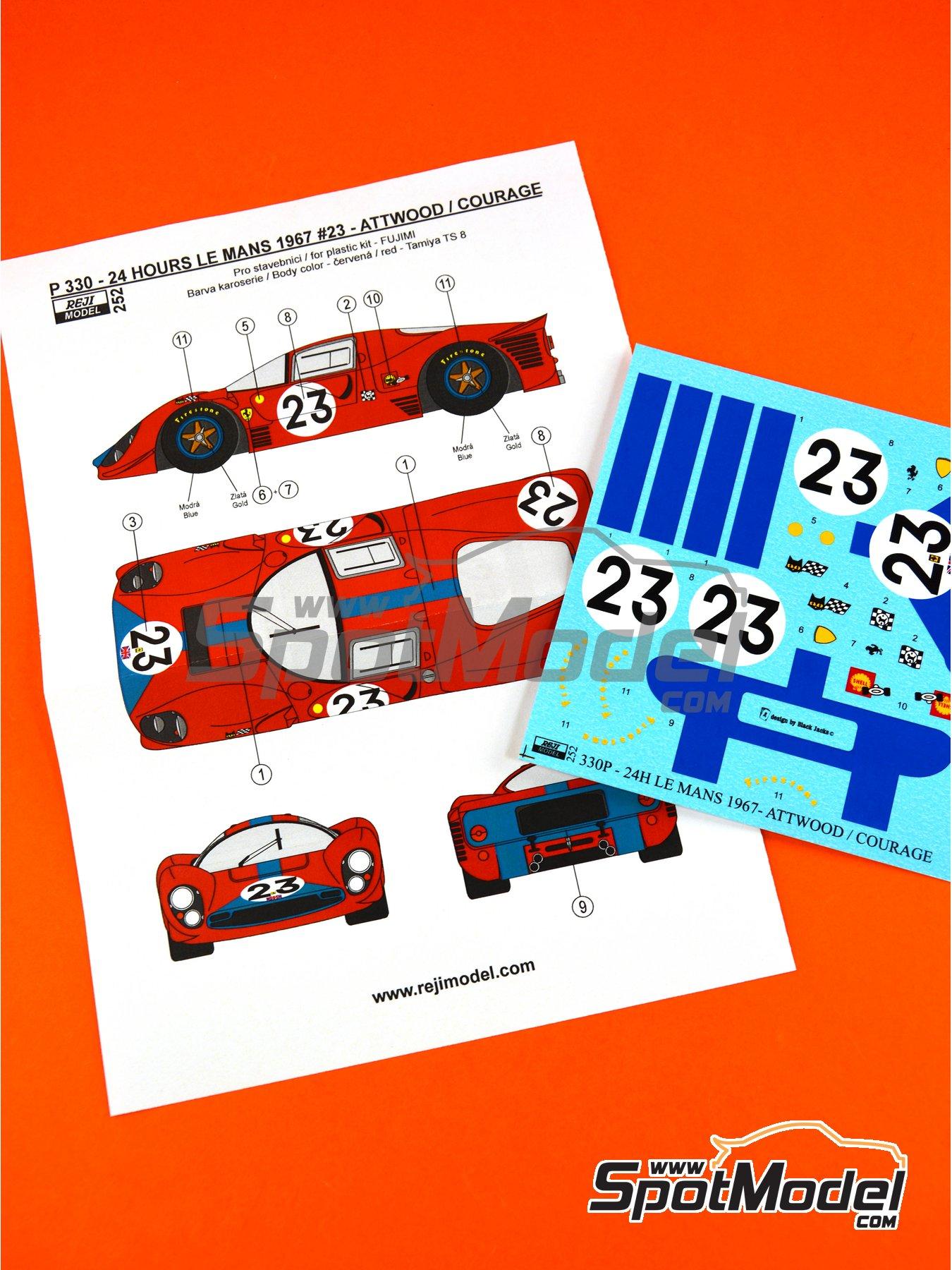 Ferrari 330 P4 - 24 Horas de Le Mans 1967 | Decoración en escala1/24 fabricado por Reji Model (ref.REJI-252) image
