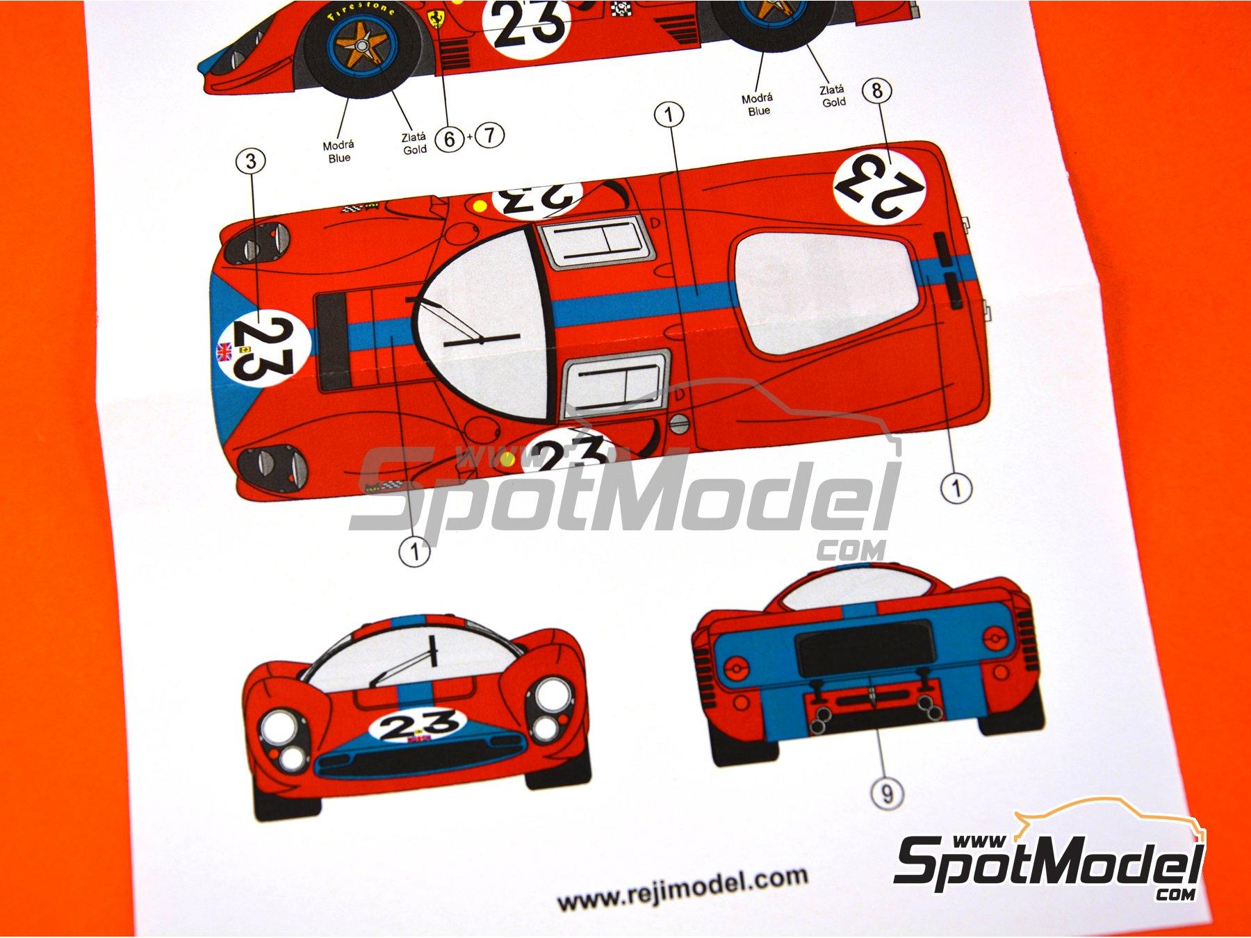 Image 3: Ferrari 330 P4 - 24 Horas de Le Mans 1967 | Decoración en escala1/24 fabricado por Reji Model (ref.REJI-252)