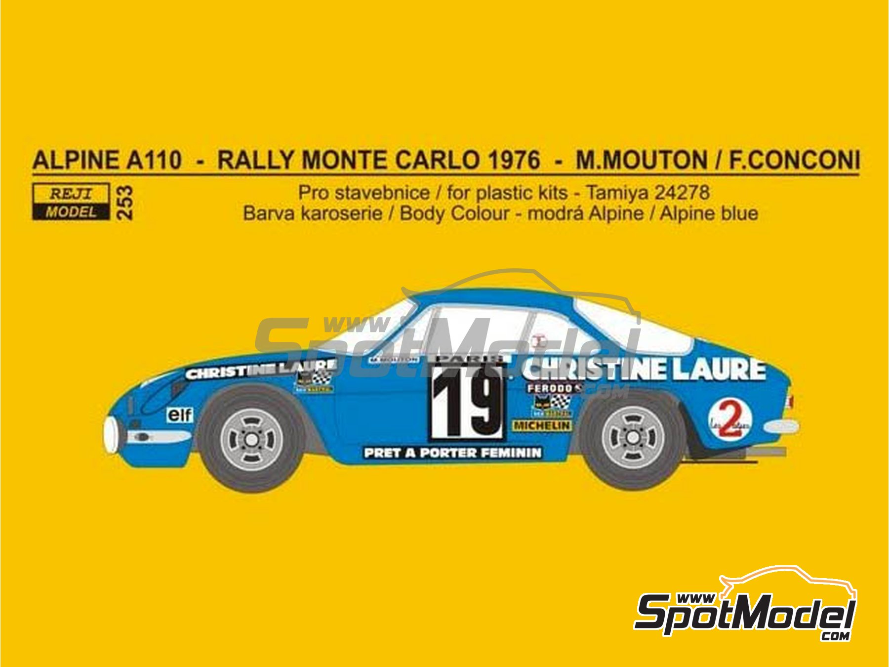 Image 1: Renault Alpine A110 Christine Laure - Montecarlo Rally 1976 | Marking / livery in 1/24 scale manufactured by Reji Model (ref. REJI-253)