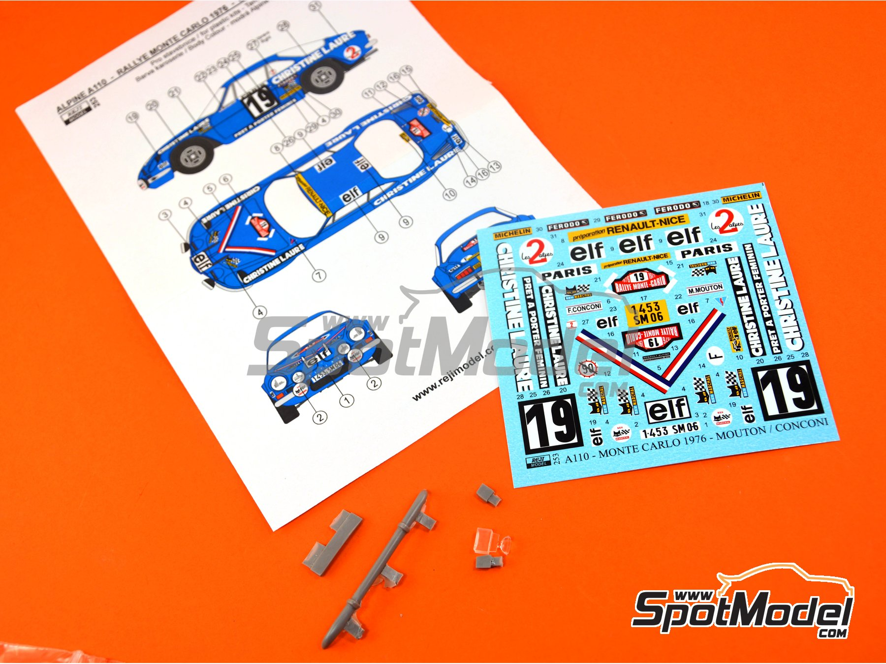Image 3: Renault Alpine A110 - Montecarlo Rally 1976 | Marking / livery in 1/24 scale manufactured by Reji Model (ref. REJI-253)